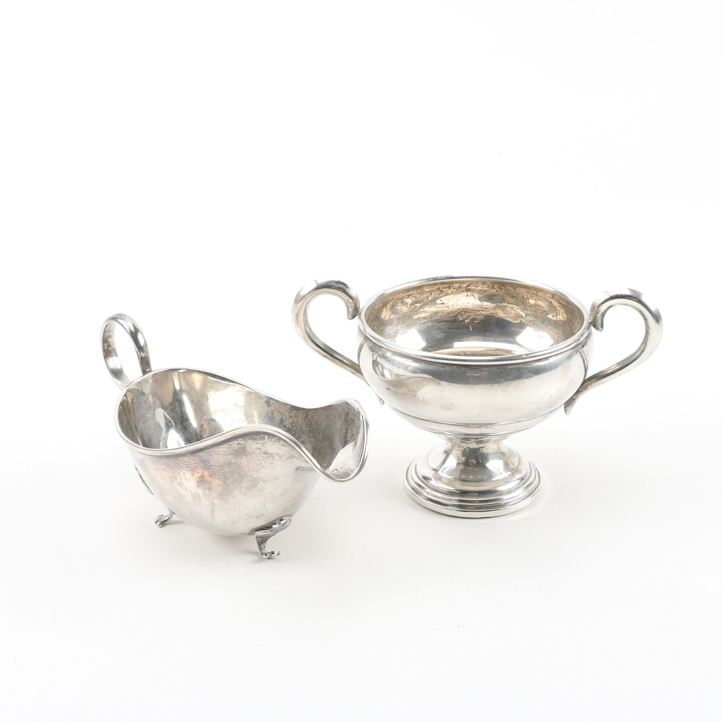 National Silver Co. Sterling Creamer with Atkins Weighted Sterling Sugar Bowl