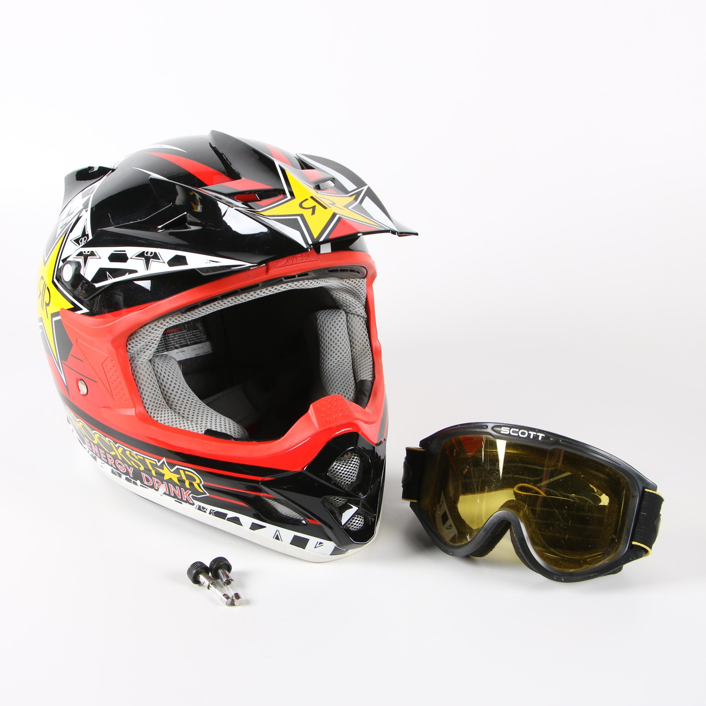 Rockstar Advertising Motocross XL Capacete Helmet with Goggles