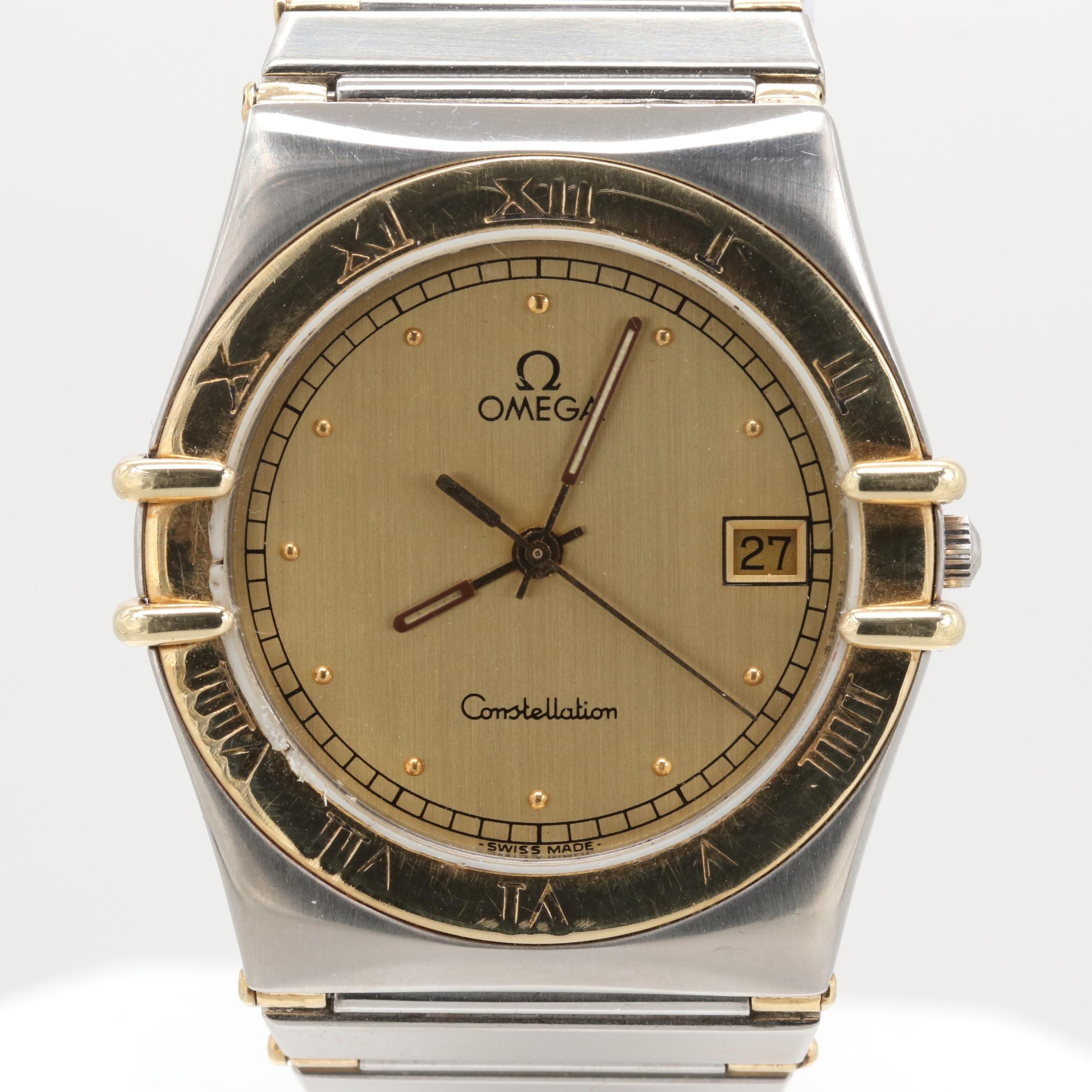 Omega Constellation Stainless Steel and 18K Yellow Gold Wristwatch