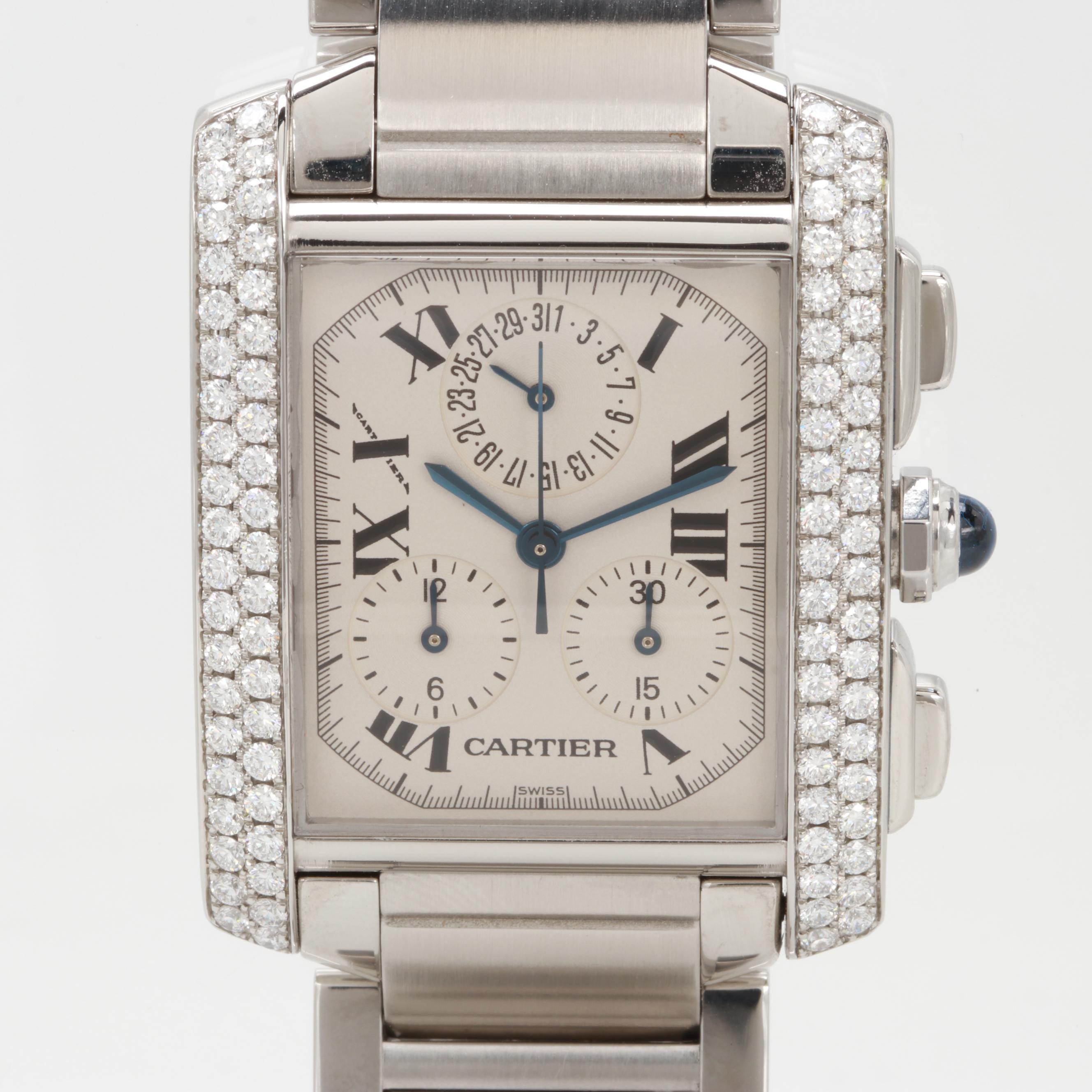 Cartier Tank Française Chronograph Wristwatch With 1.64 CTW Diamond Bezel