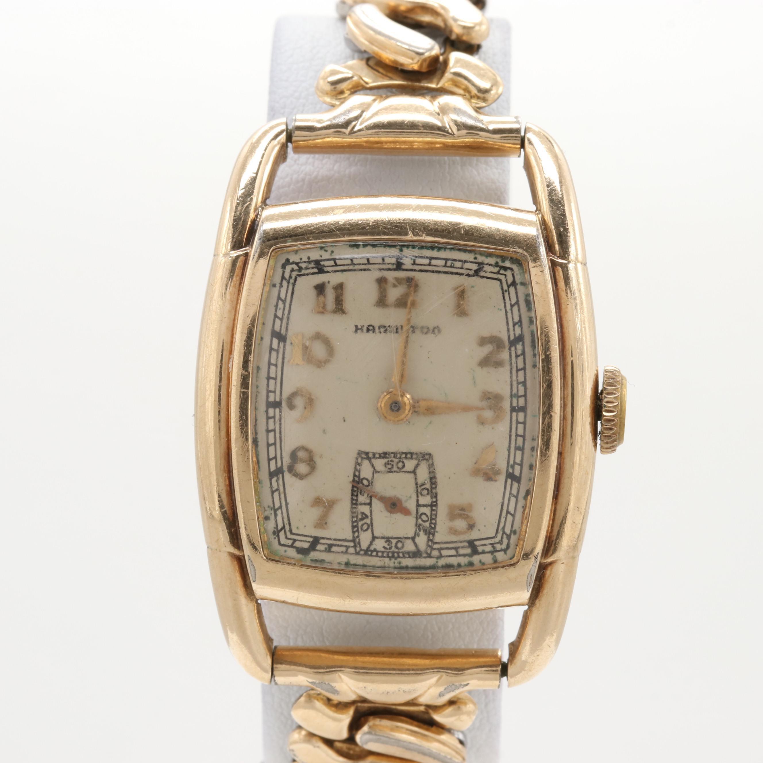 Hamilton 10K Gold Filled Stem Wind Wristwatch, Circa 1938