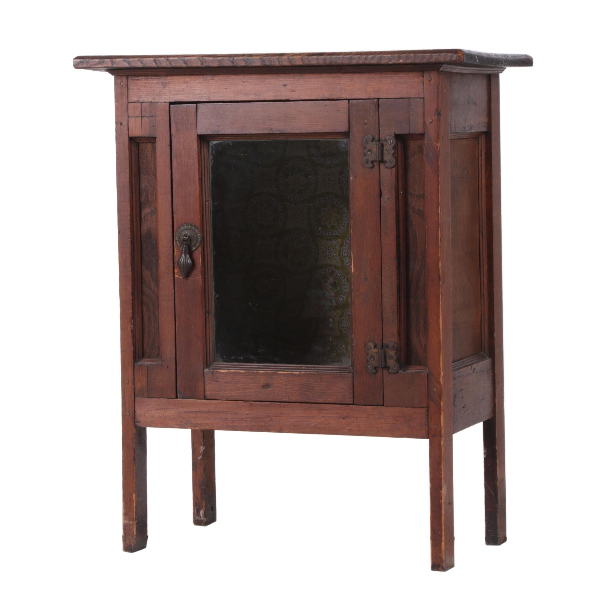 Small Wood Display Cabinet with Glass Door