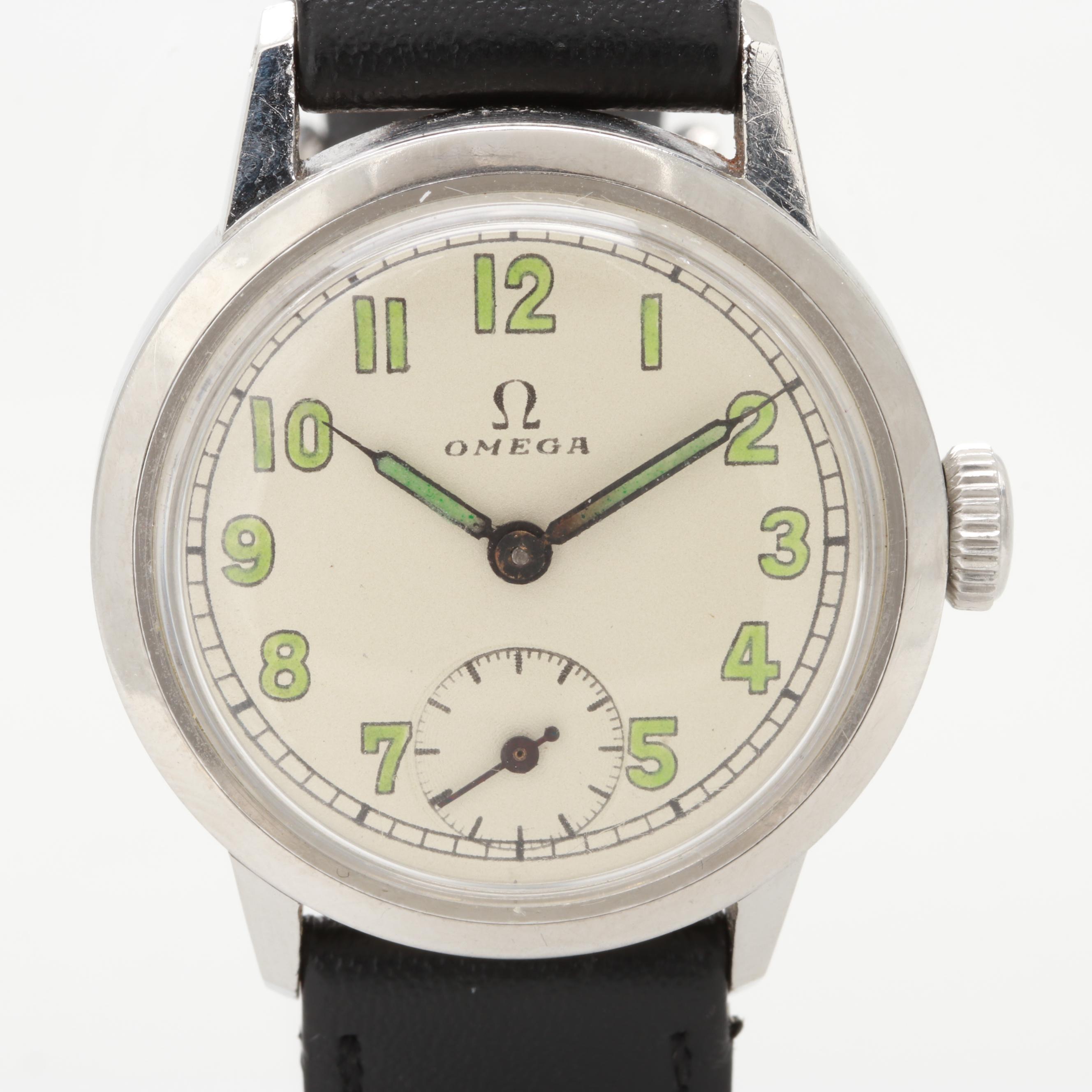 Vintage Omega Stainless Steel Stem Wind Wristwatch