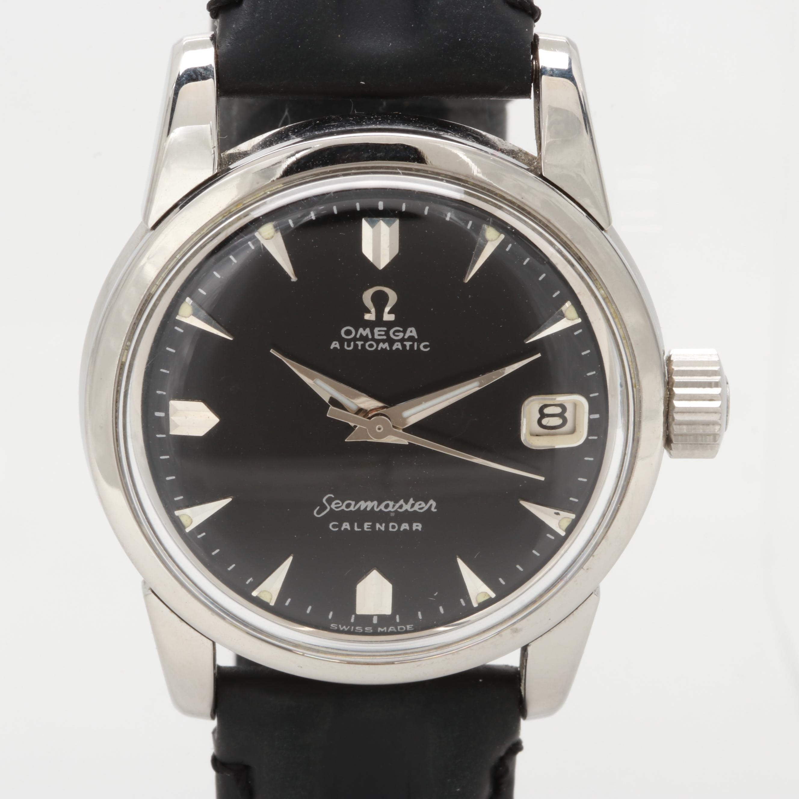 Omega Stainless Steel Seamaster Automatic Wristwatch With Calendar, Circa 1960