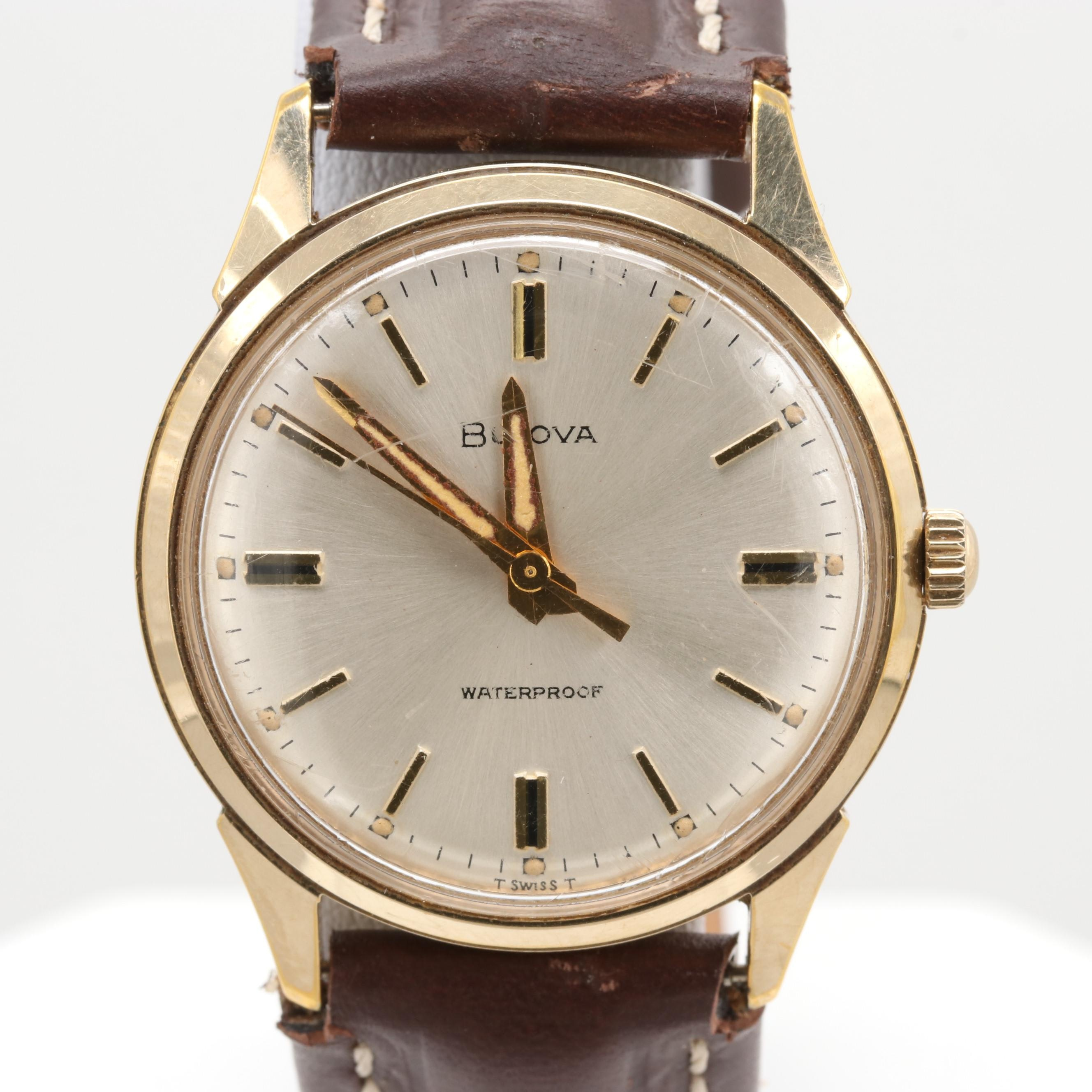 Bulova Gold Tone Stem Wind Wristwatch