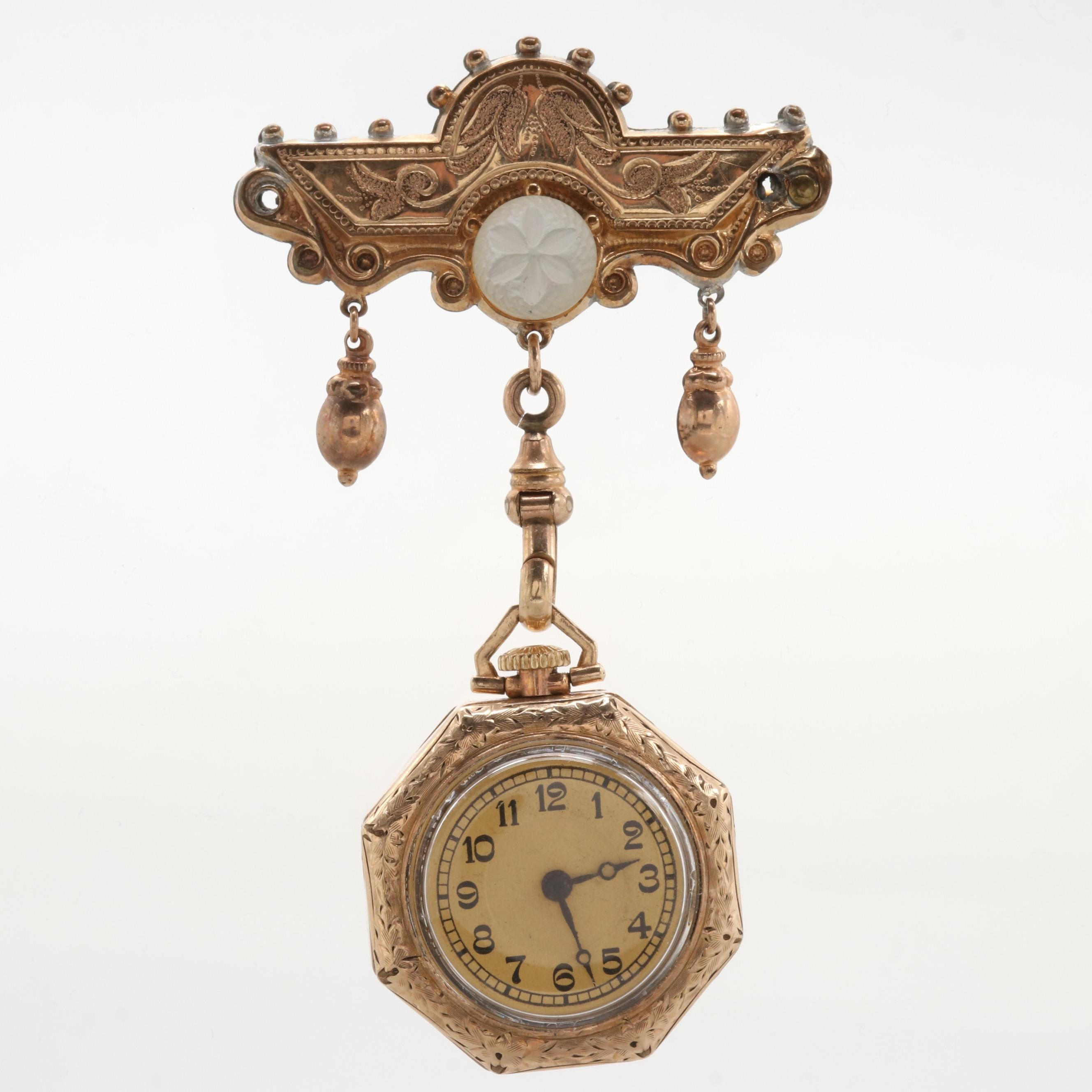 Swiss Gold Filled Pocket Watch Pin With Mother of Pearl