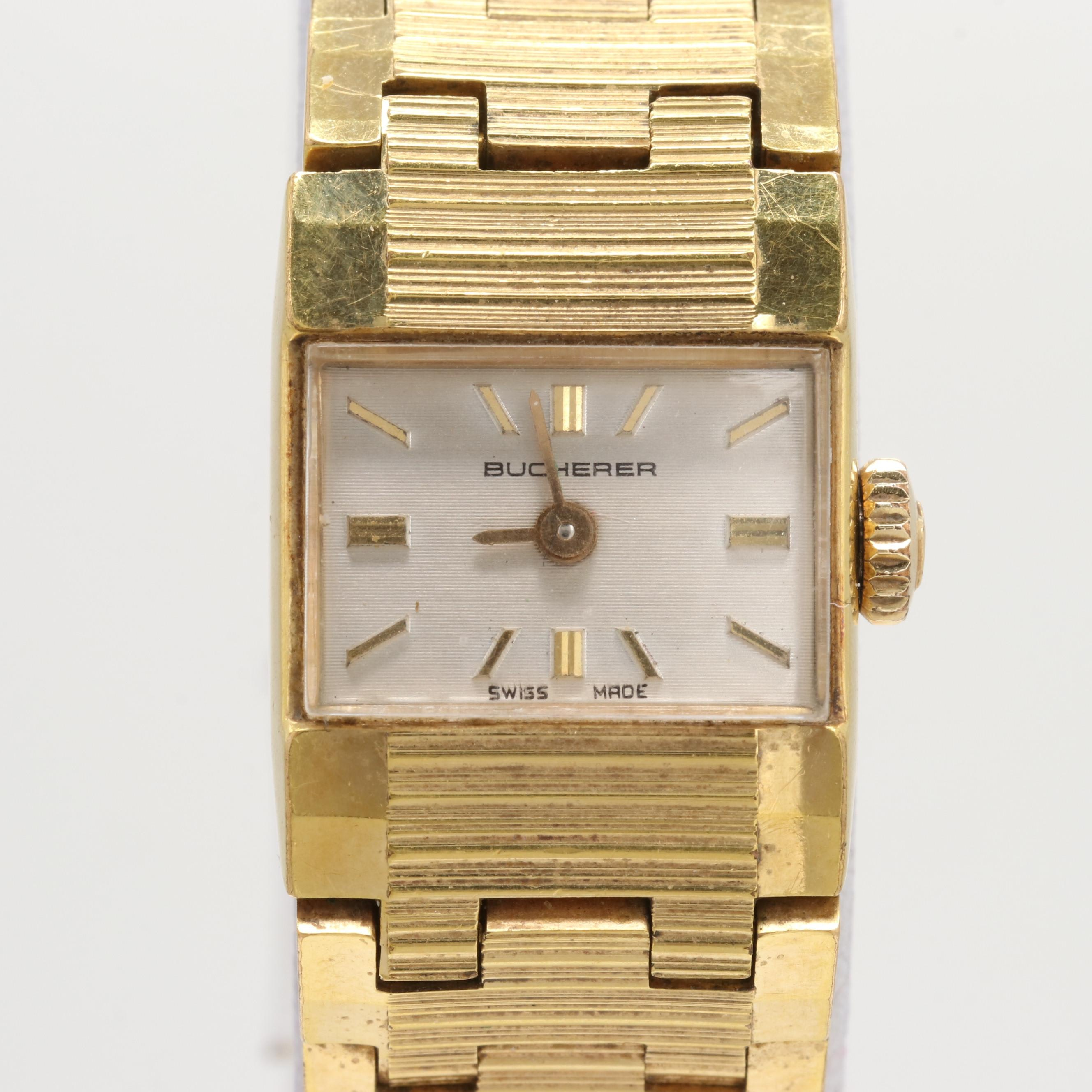 Vintage Bucherer Gold Wash on Stainless Steel Stem Wind Wristwatch