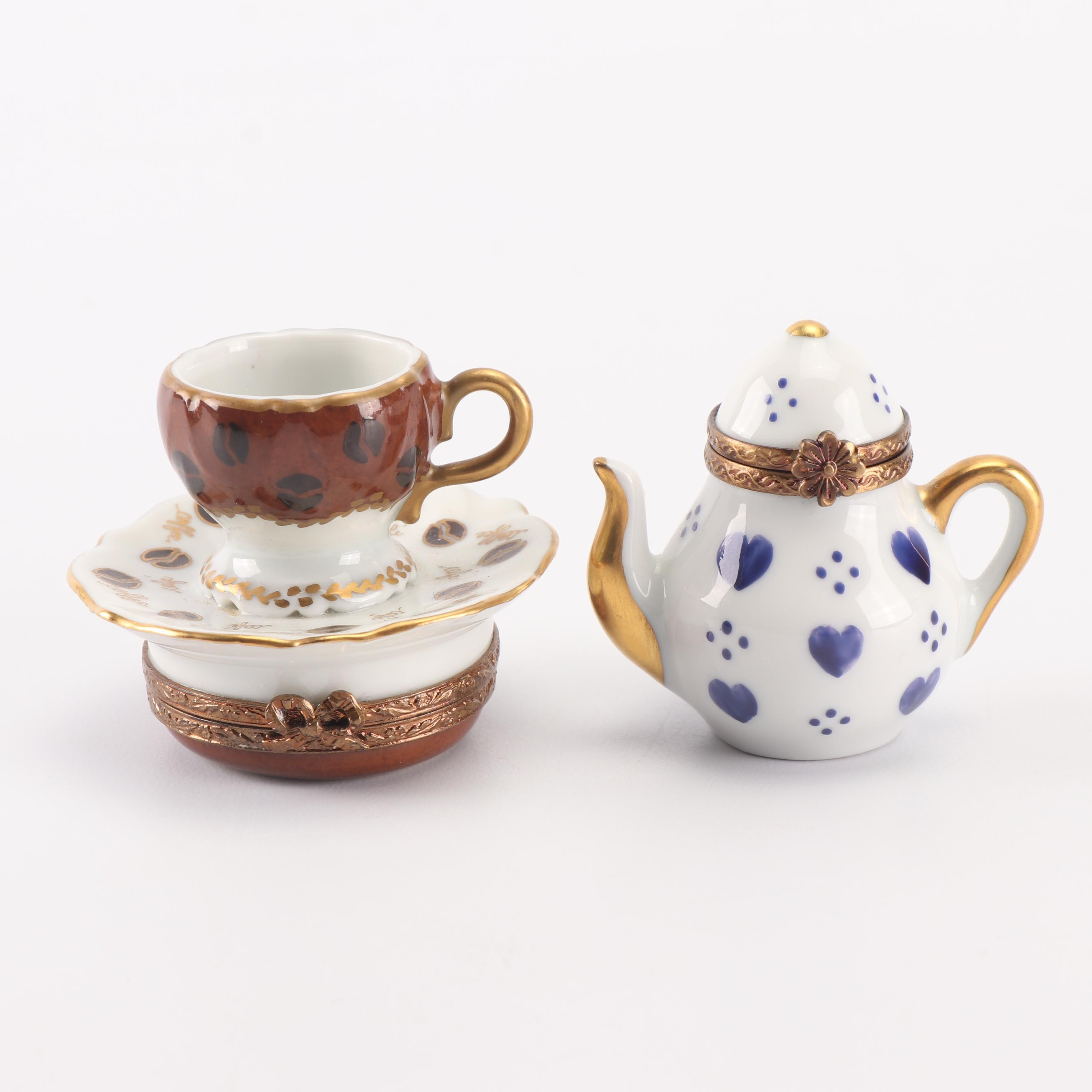 Limoges Porcelain Trinket Boxes including Rochard