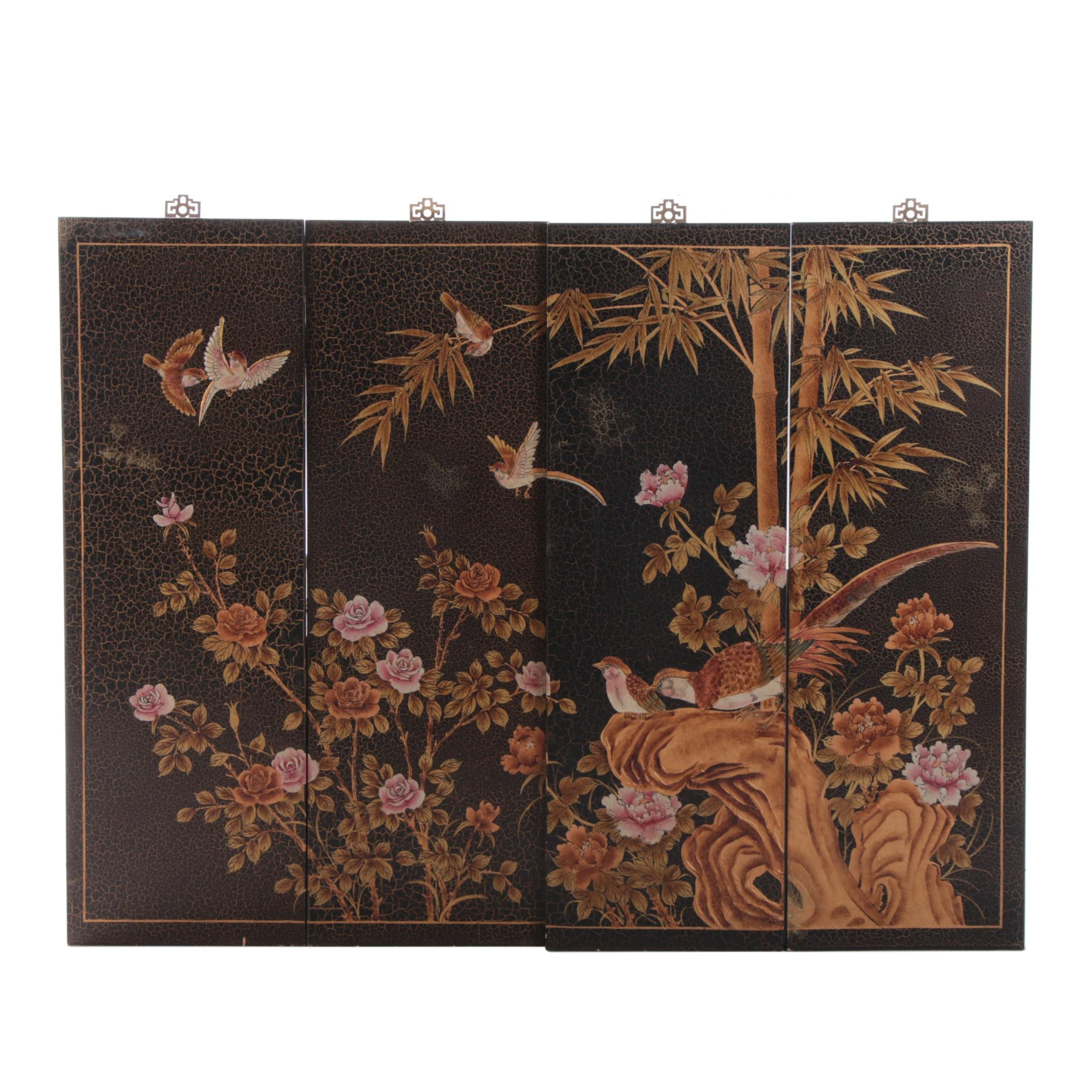 Chinoiserie Paneled Wooden Wall Mural of Birds and Flora