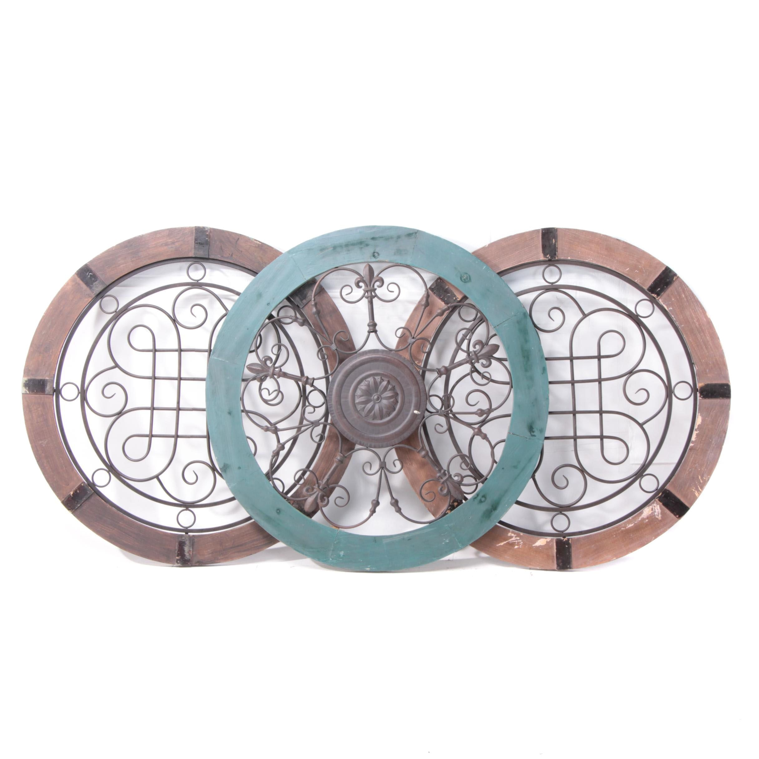 Provincial Style Wood and Metal Round Wall Medallions