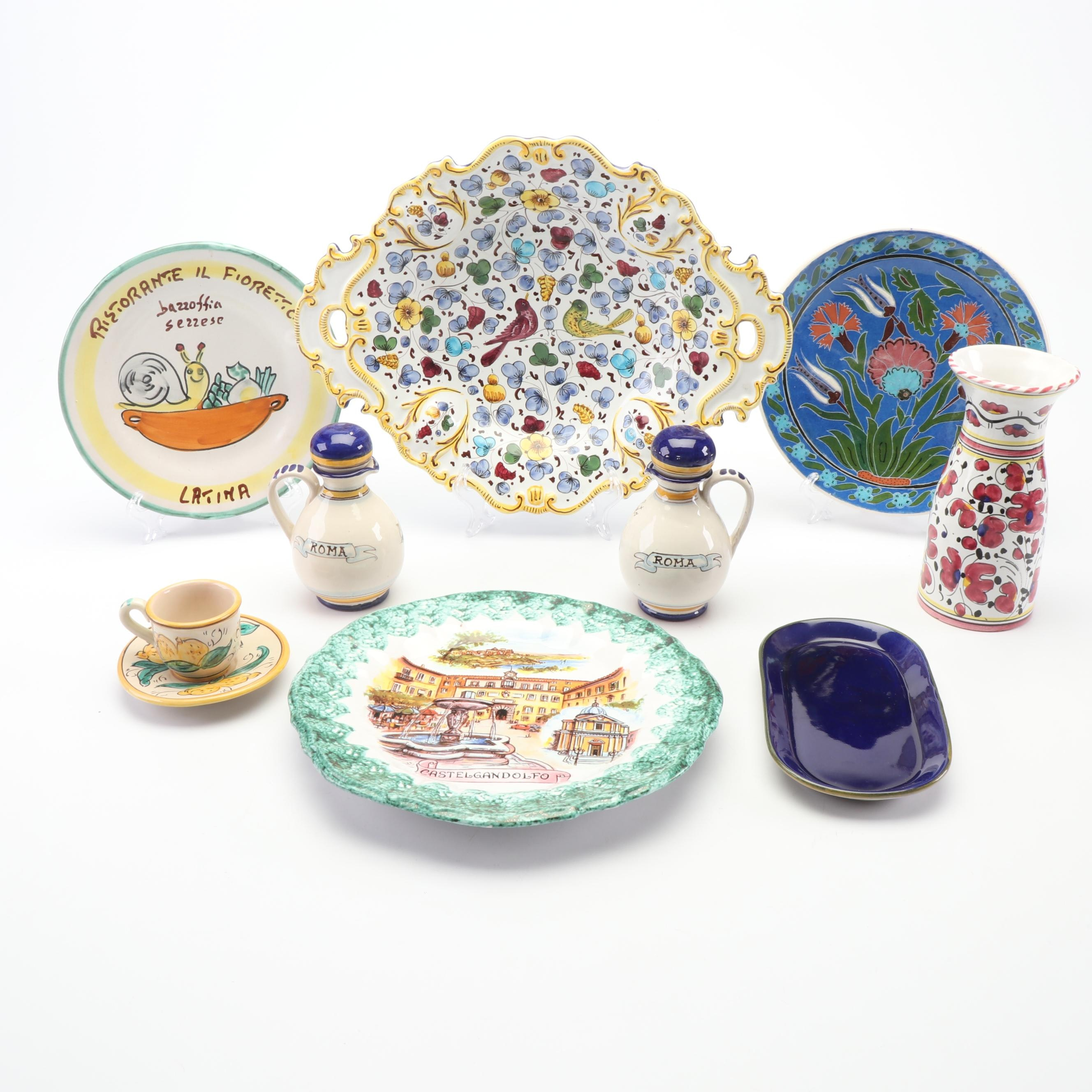 Italian Hand-Painted Faïence Dinnerware Featuring Deruta and Kütahya