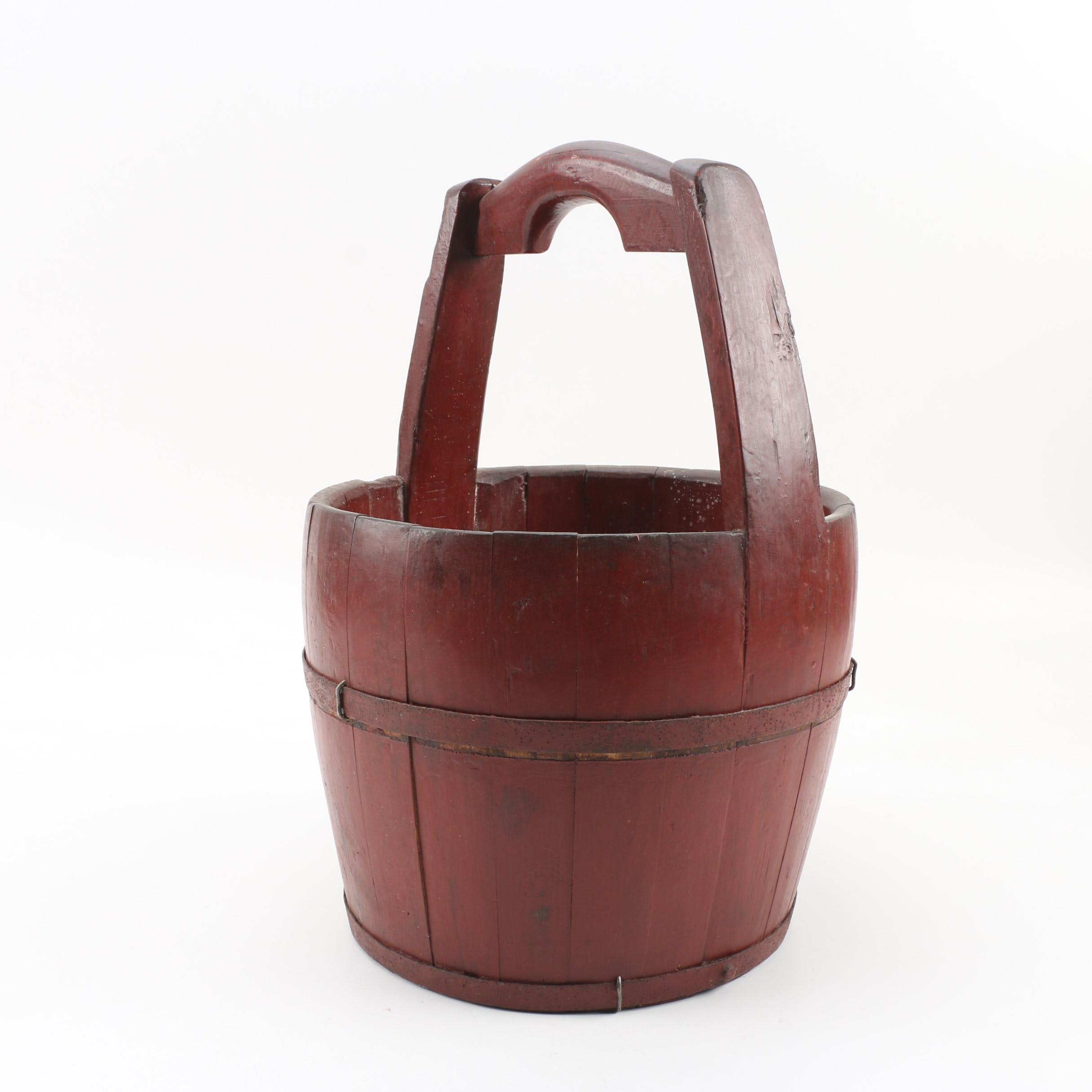 Chinese Red Painted Wooden Bucket