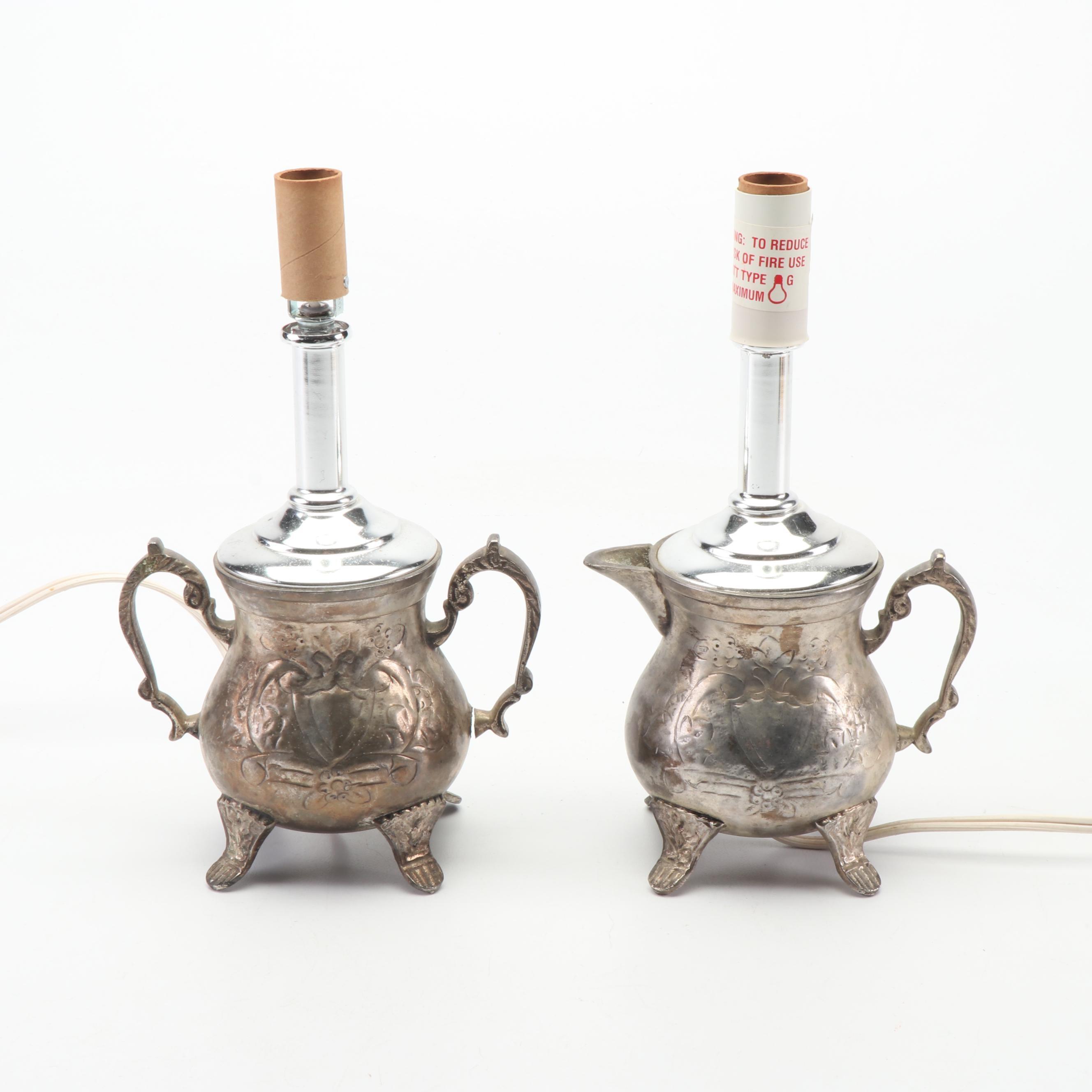 Repurposed Silver Plate Creamer and Sugar Bowl Lamps
