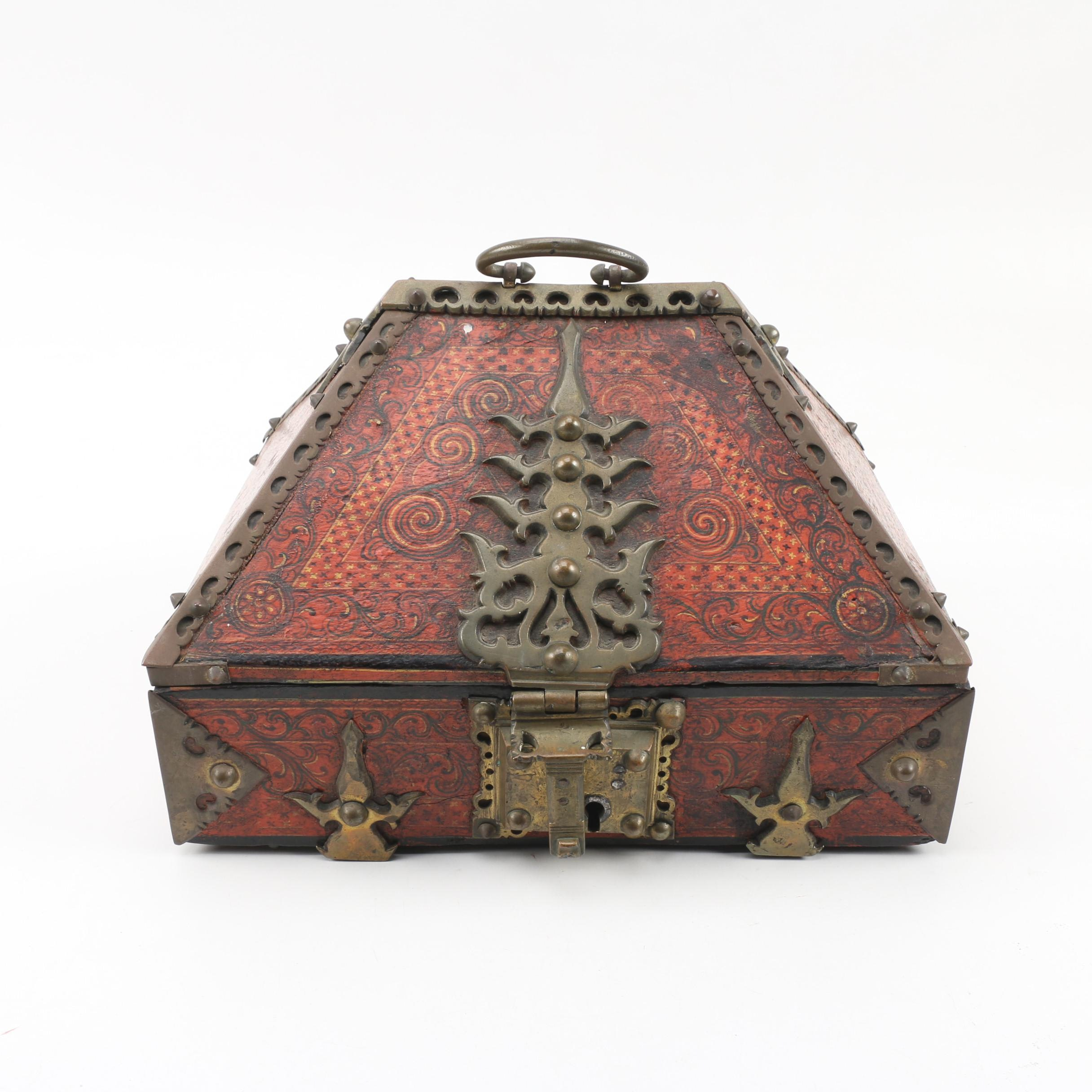 Indian Painted Wooden Dowry Box with Brass Hardware
