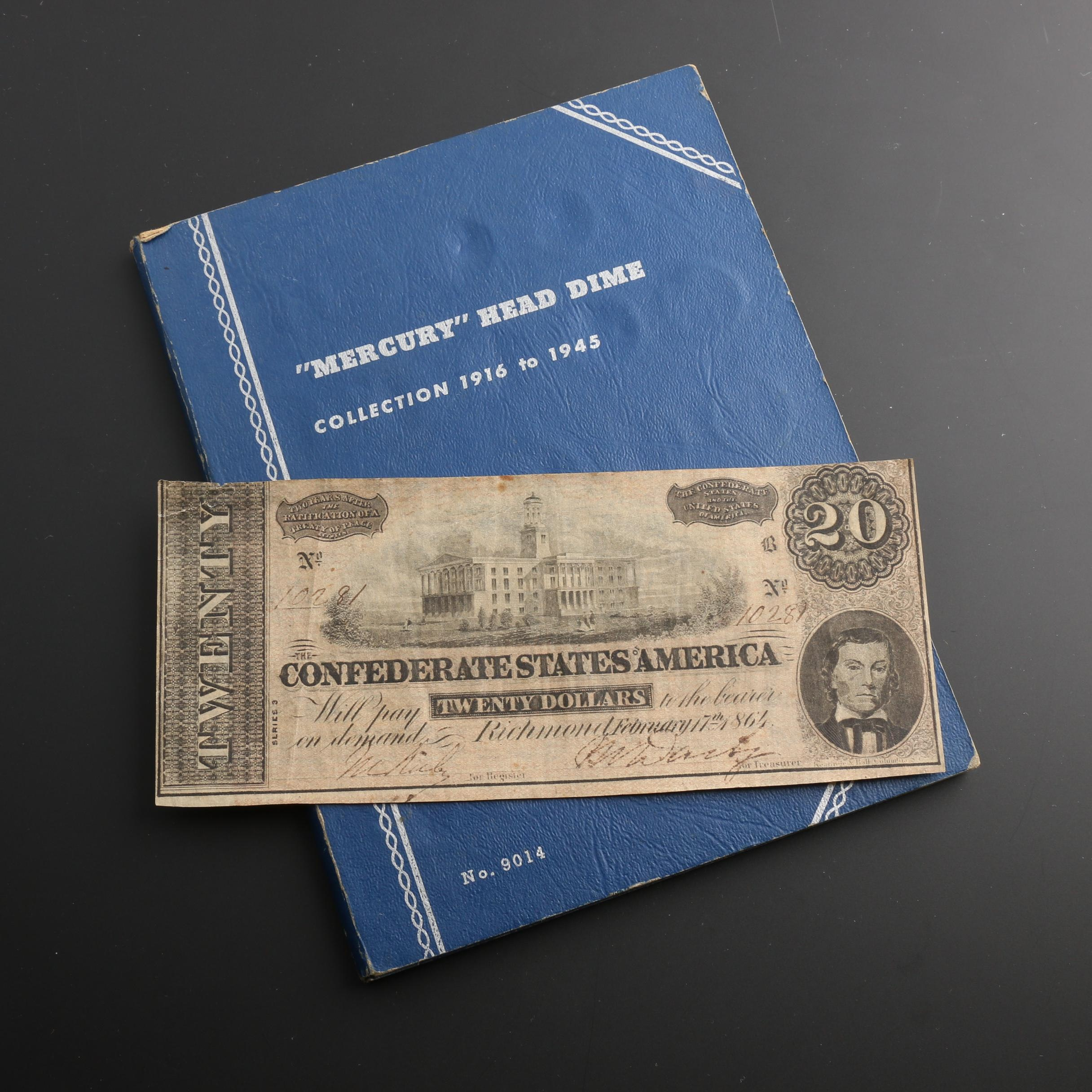 Whitman Binder of Mercury Dimes and a $20 Confederate States of America Banknote
