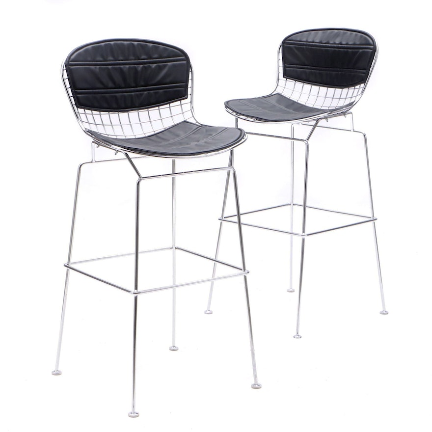 Excellent Bertoia Style Counter Stools Ebth Theyellowbook Wood Chair Design Ideas Theyellowbookinfo