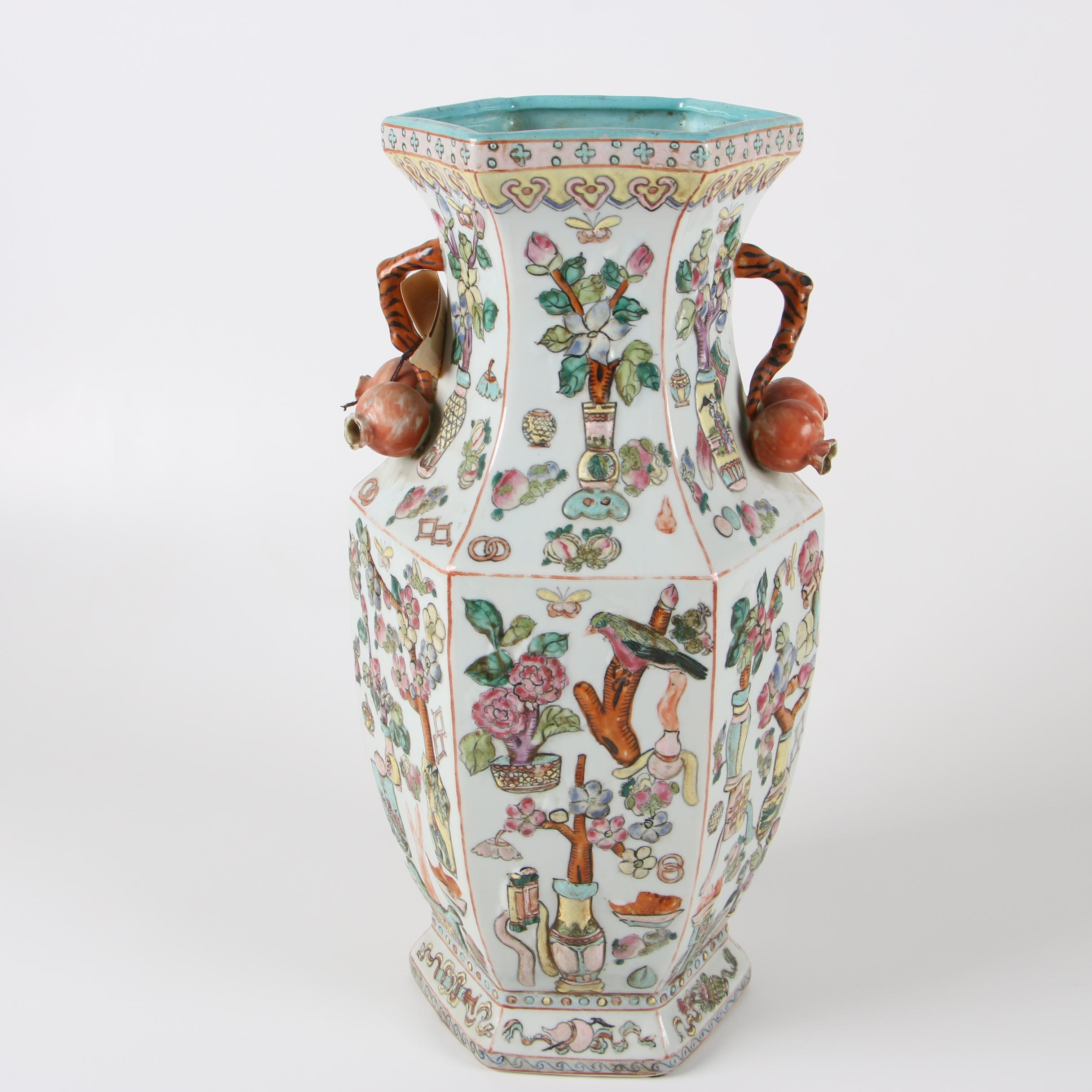 Chinese Famille Rose Ceramic Vase with Pomegranate Handles