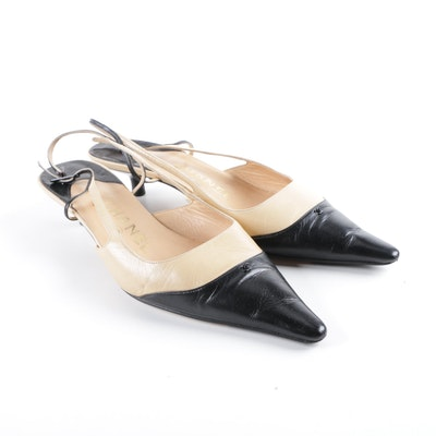 14e74a915ae4 Chanel Black and Cream Leather Slingback Kitten Heels