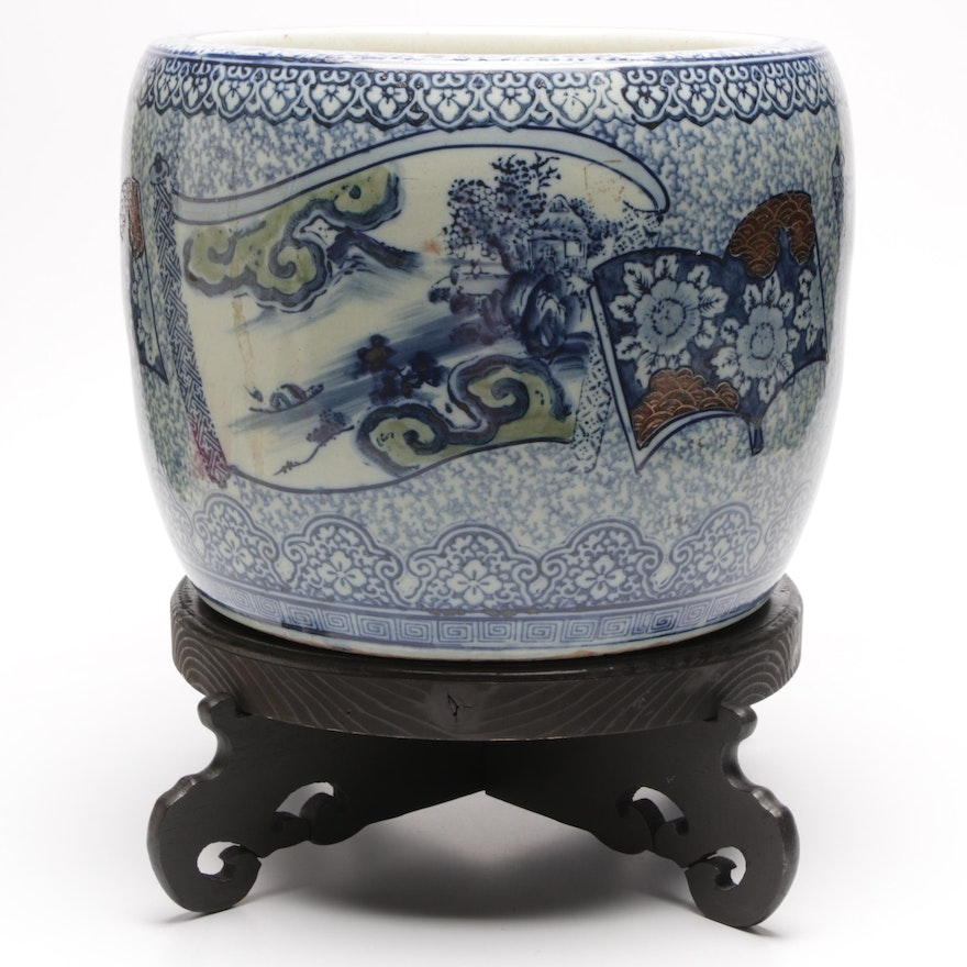 Large Chinese Fish Bowl Planter With Wooden Stand