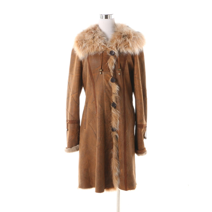 7ee55e069c9 Blue Duck Suede Coat with Dyed Blue Fox Fur Trim and Shearling Lining   EBTH