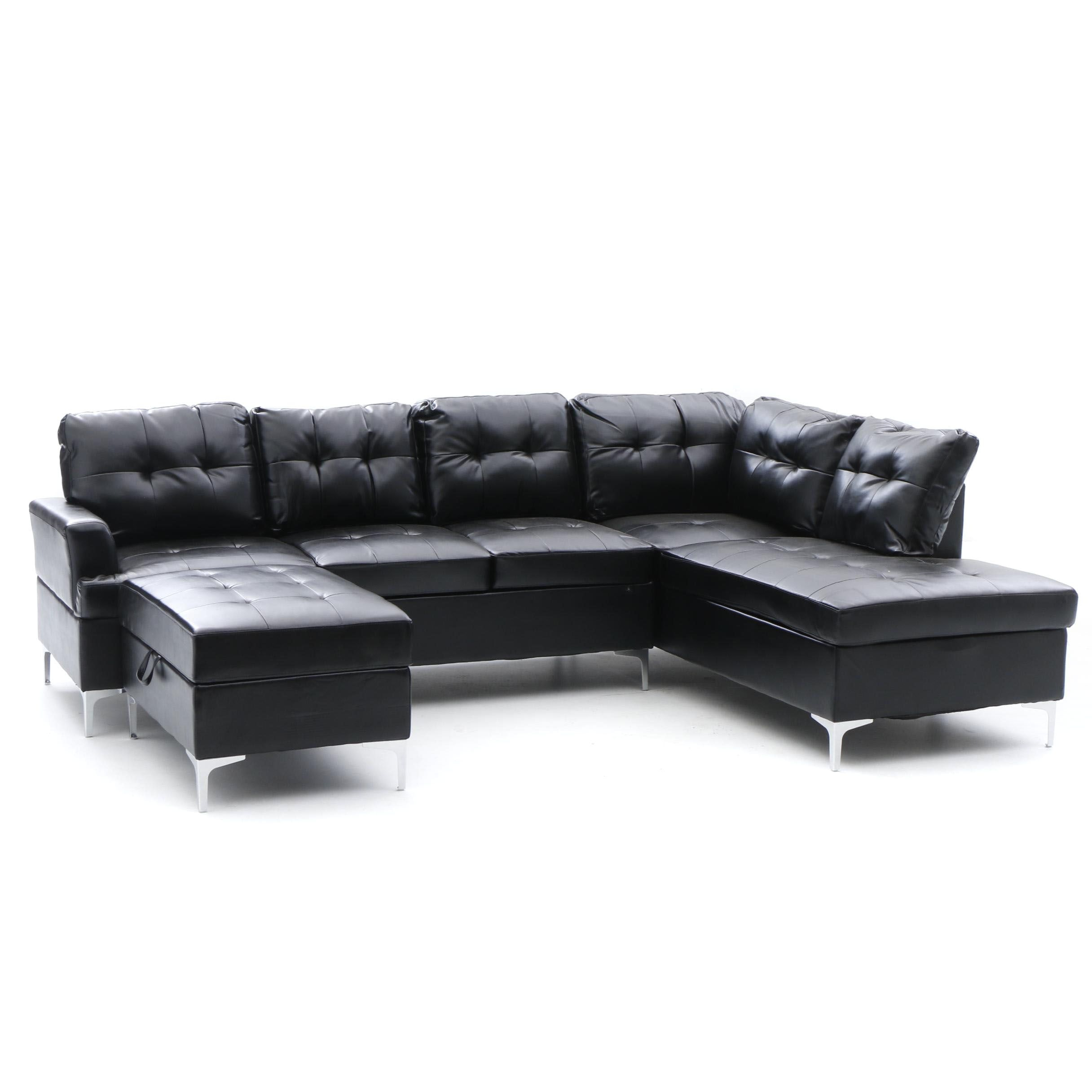Black Faux Leather Sectional Sofa Ebth