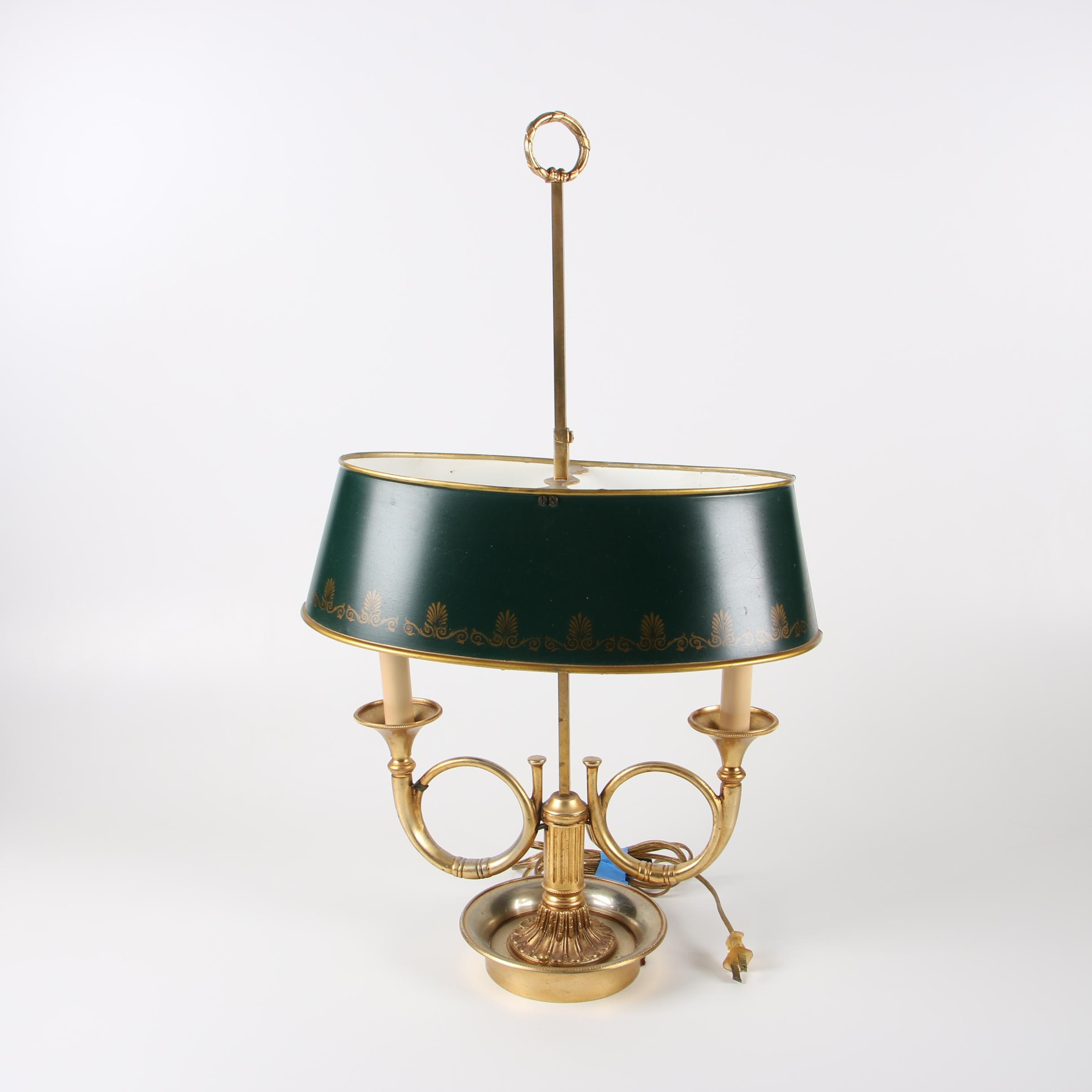 Empire Style Gilt Metal Hunting Horn Bouillotte Table Lamp with Tole Lamp Shade