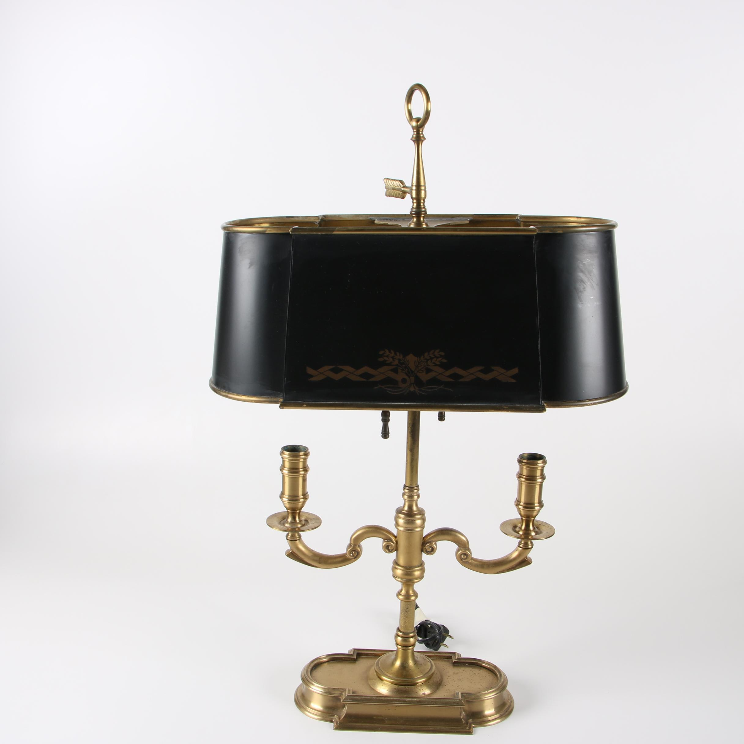 Empire Style Wildwood Brass Bouillotte Table Lamp with Tole Lamp Shade