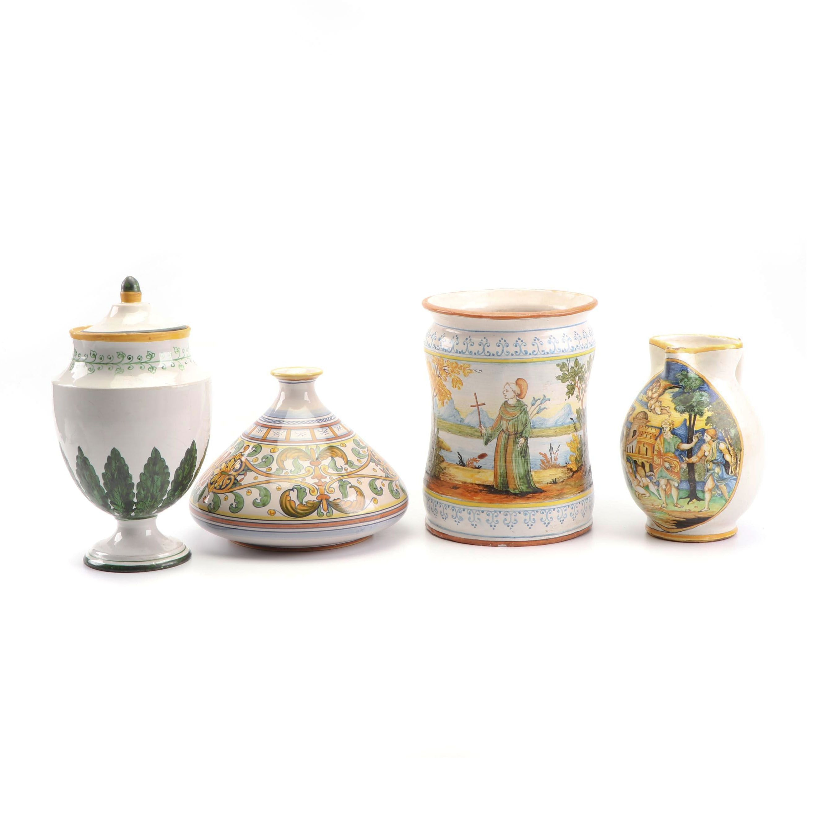Italian Hand-Painted Faïence Planter and Vases Featuring L'Antica Deruta