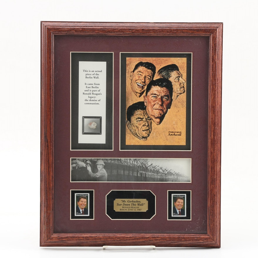 Framed Berlin Wall Remnant with Ronald Reagan Stamps
