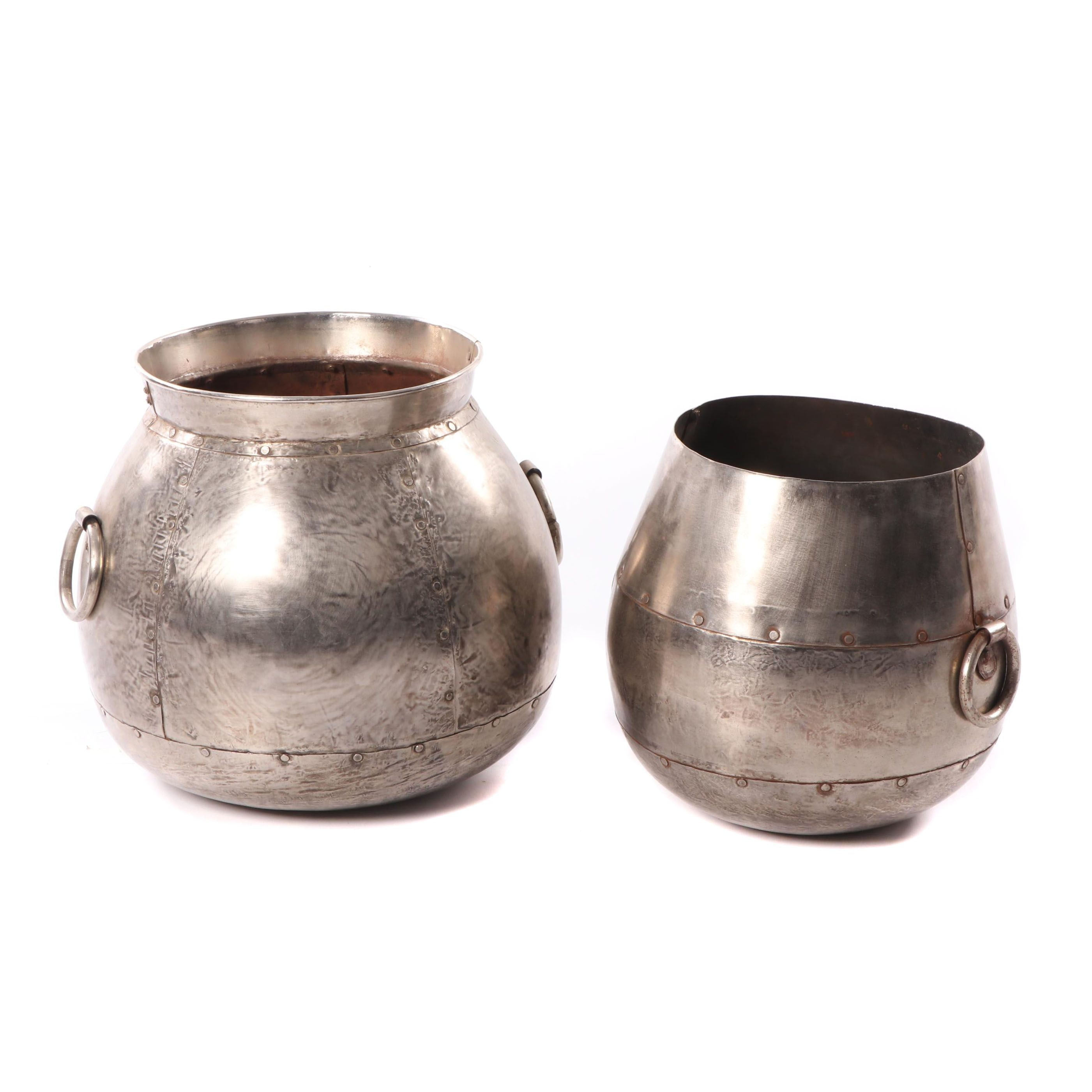 Riveted Metal Cachepots with Handles