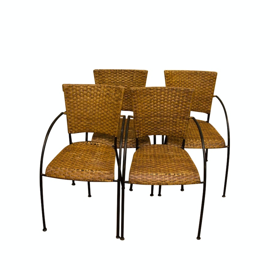 Marvelous Collection Of Four Vintage Wicker Dining Chairs Ocoug Best Dining Table And Chair Ideas Images Ocougorg