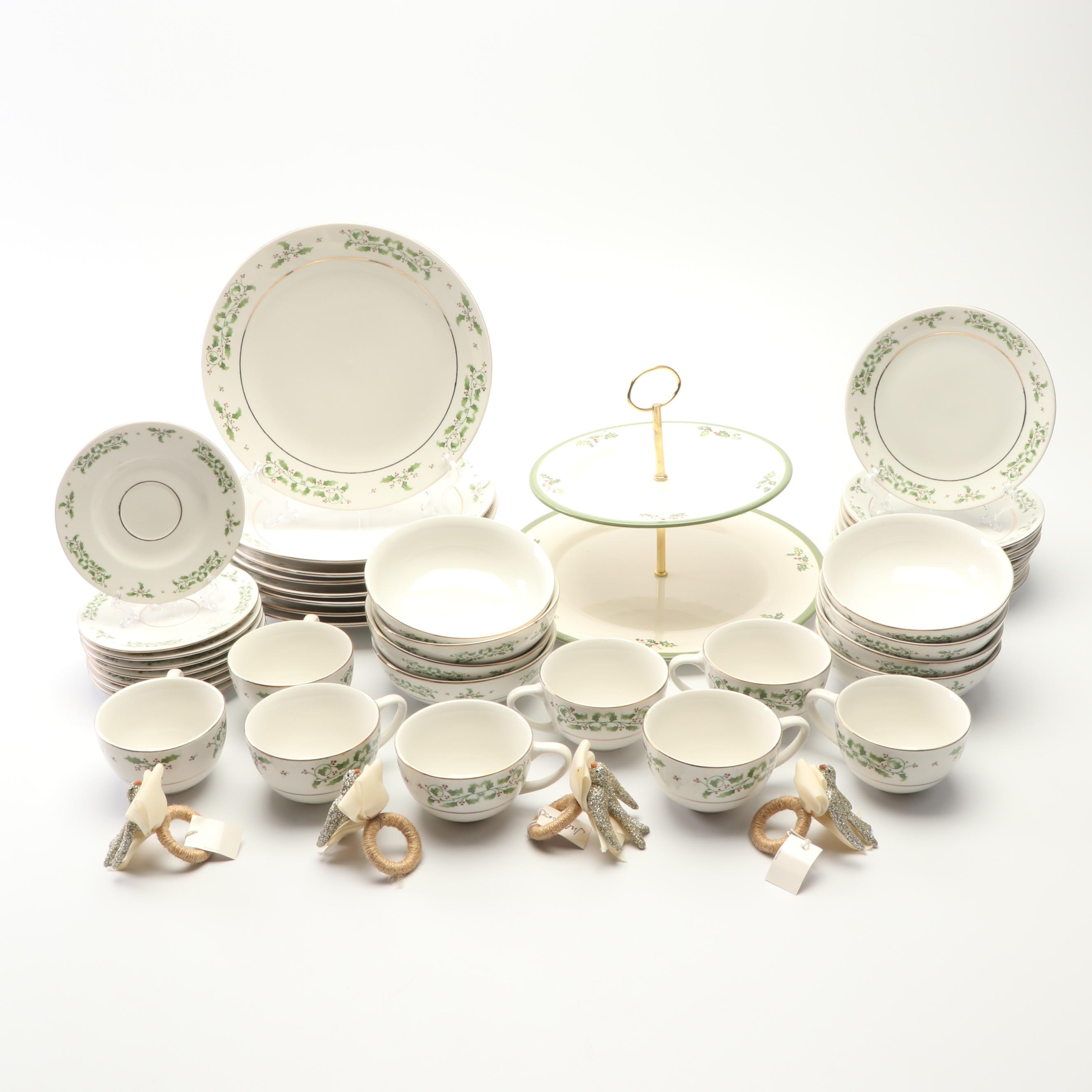 Christopher Radko and Gibson Holly Motif Tableware with Juliska Napkin Rings