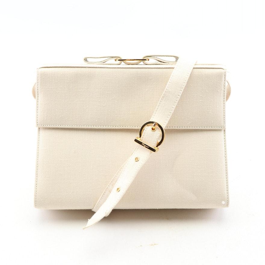 6ec5e4b48e245 Salvatore Ferragamo Off-White Linen Flap Vara Bow Shoulder Bag : EBTH