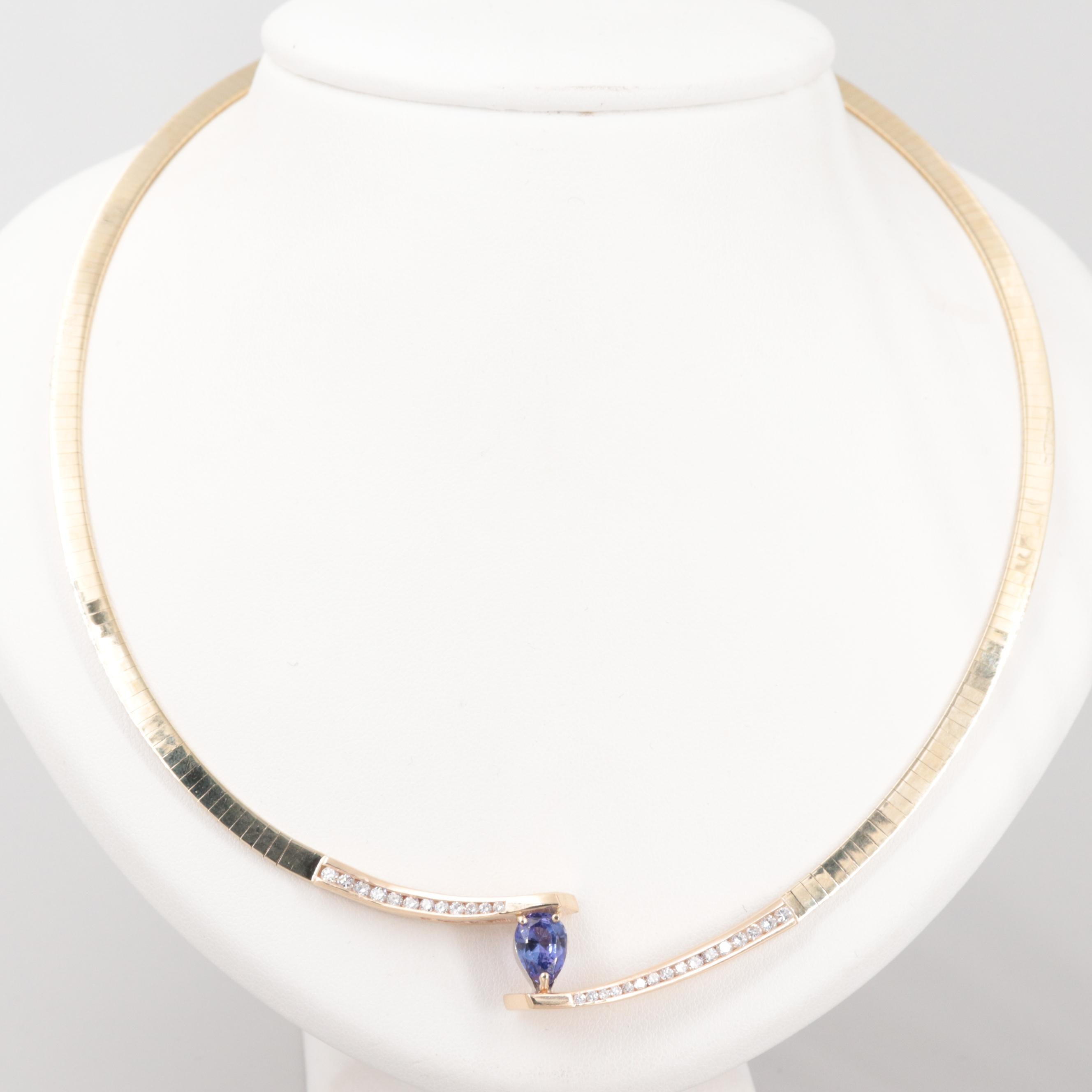 14K Yellow Gold 1.84 CT Tanzanite and Diamond Omega Collar Necklace