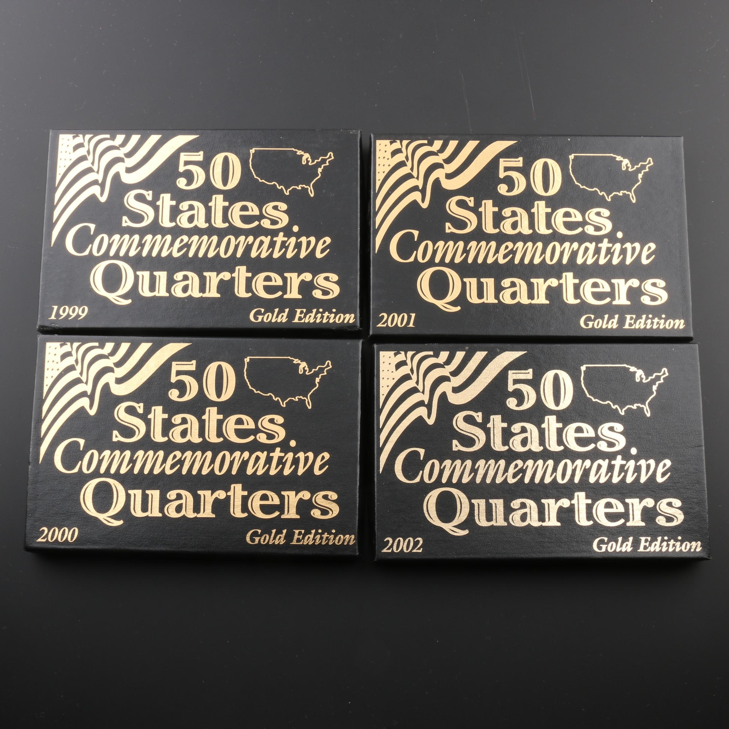 Group of Four Gold Edition Statehood Quarter Sets 1999-2002