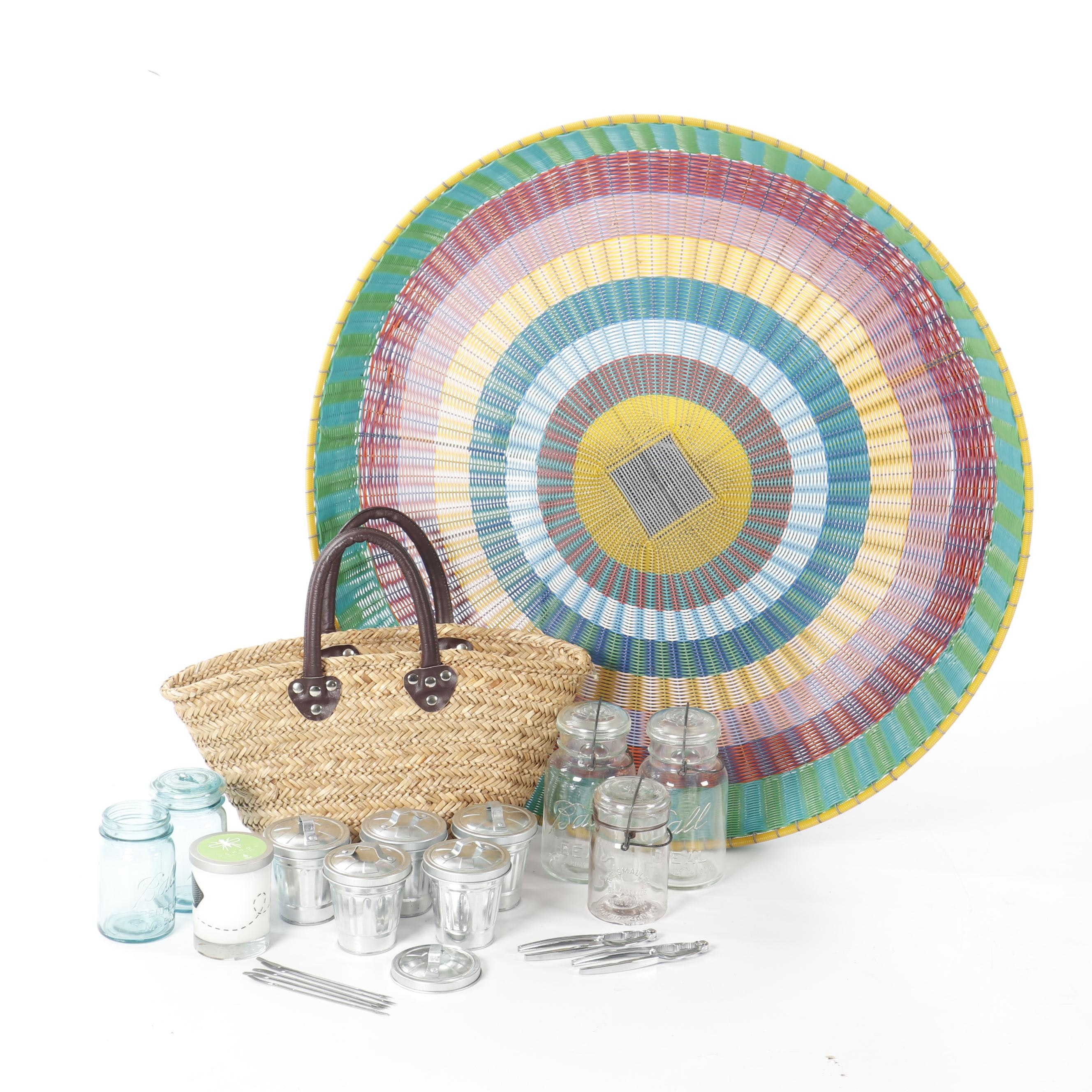 Colorful Woven Basket, Ball Mason Jars, Lobster Cans and Candle