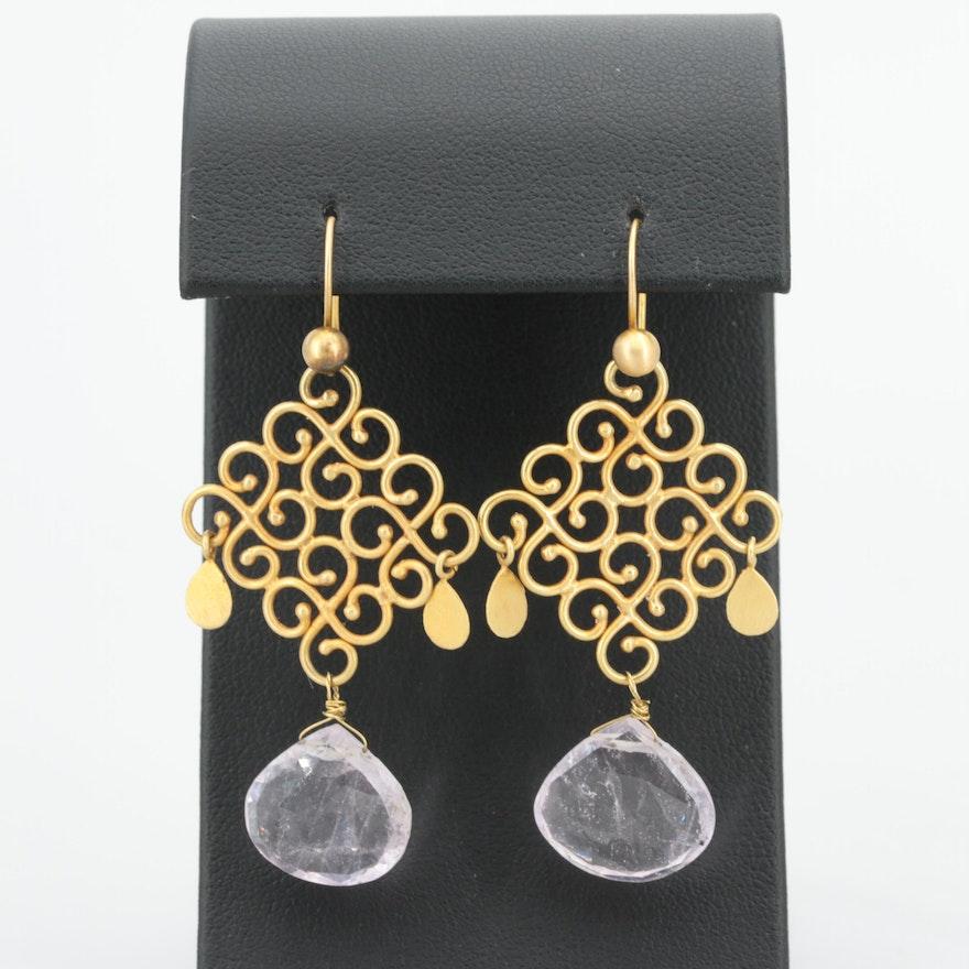18dc7d419 18K Yellow Gold Rose Quartz Earrings : EBTH