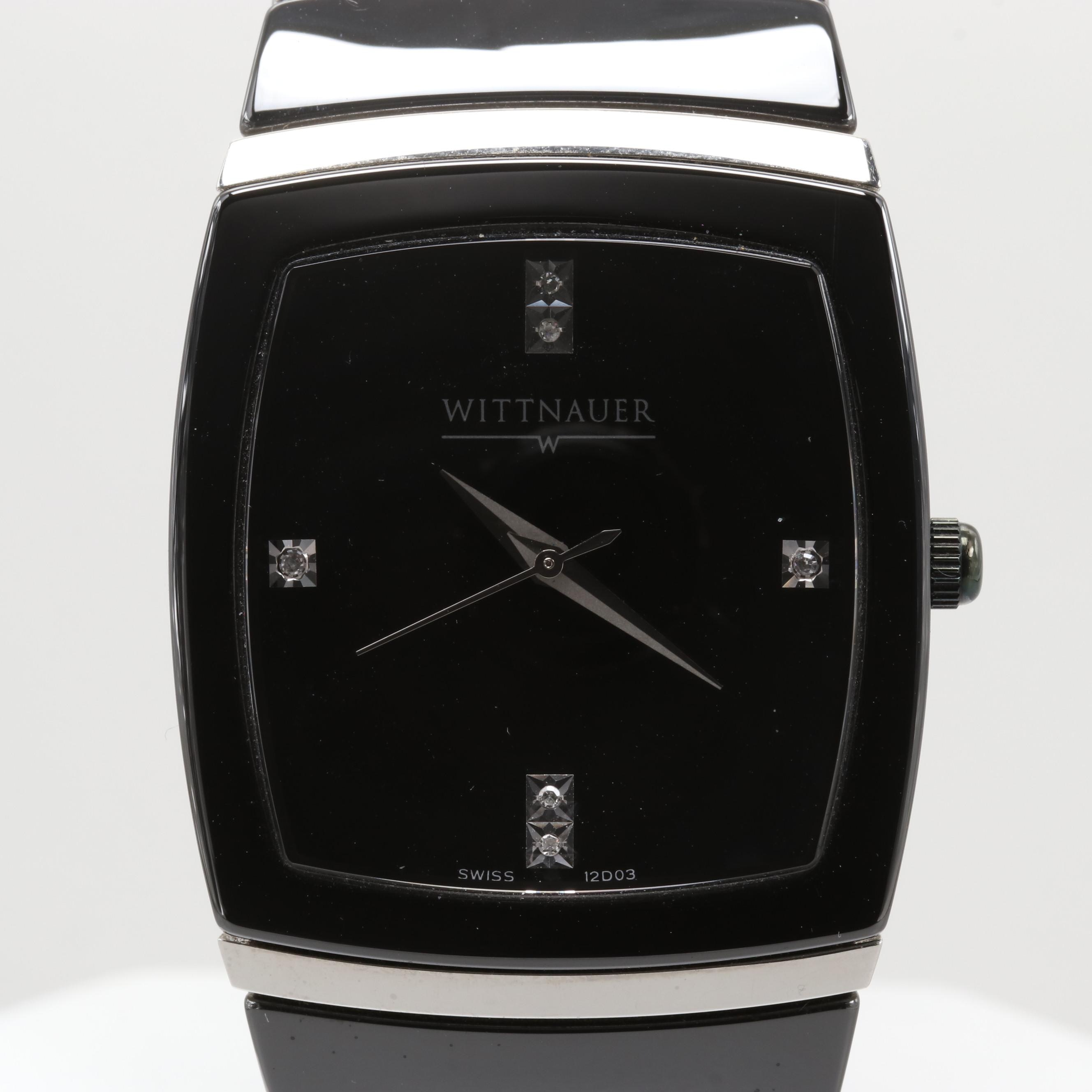 Wittnauer Ceramic and Stainless Steel Quartz Wristwatch with Diamond Dial