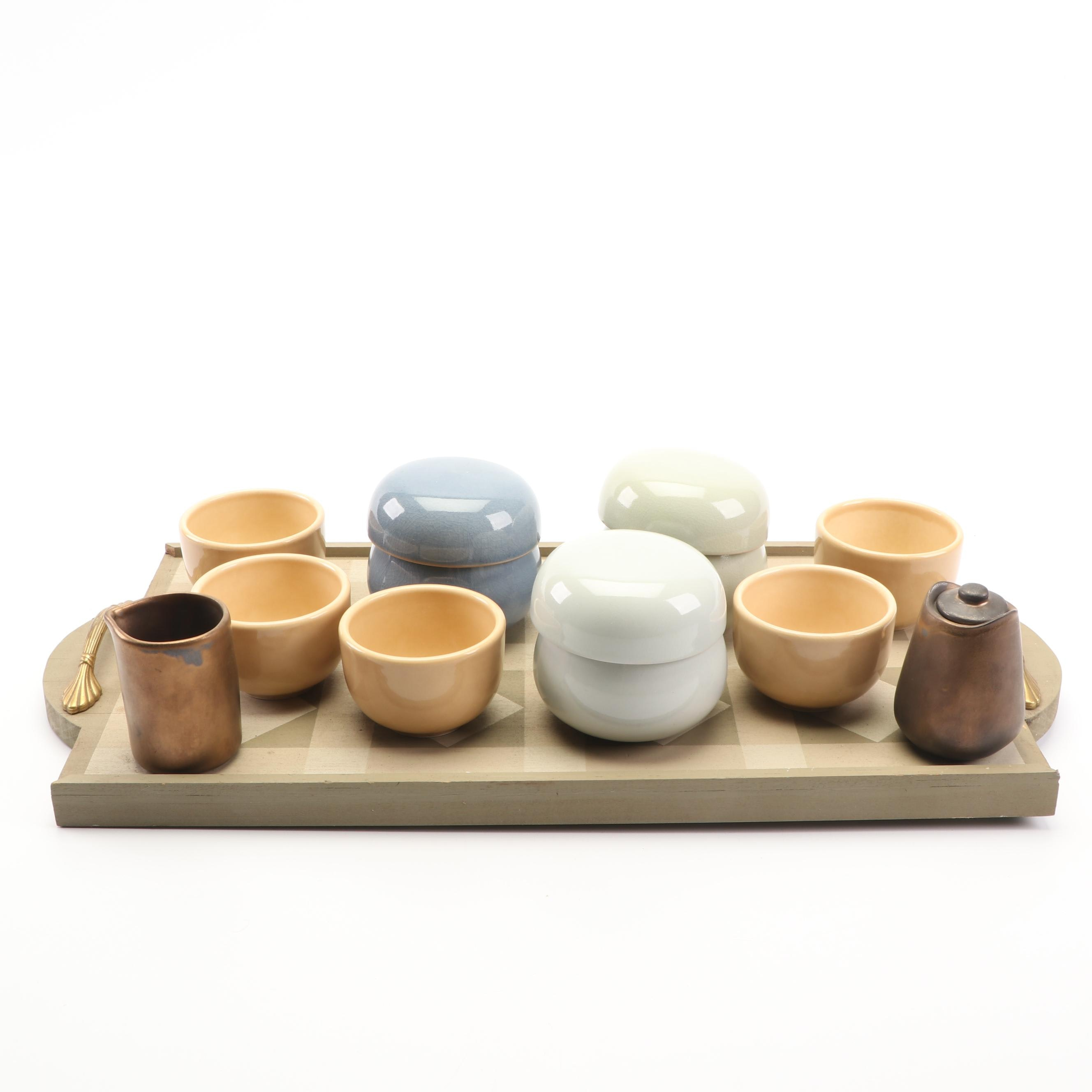 Ceramic Tea Bowls, Butter Bells and Cream and Sugar Set with Wood Tray