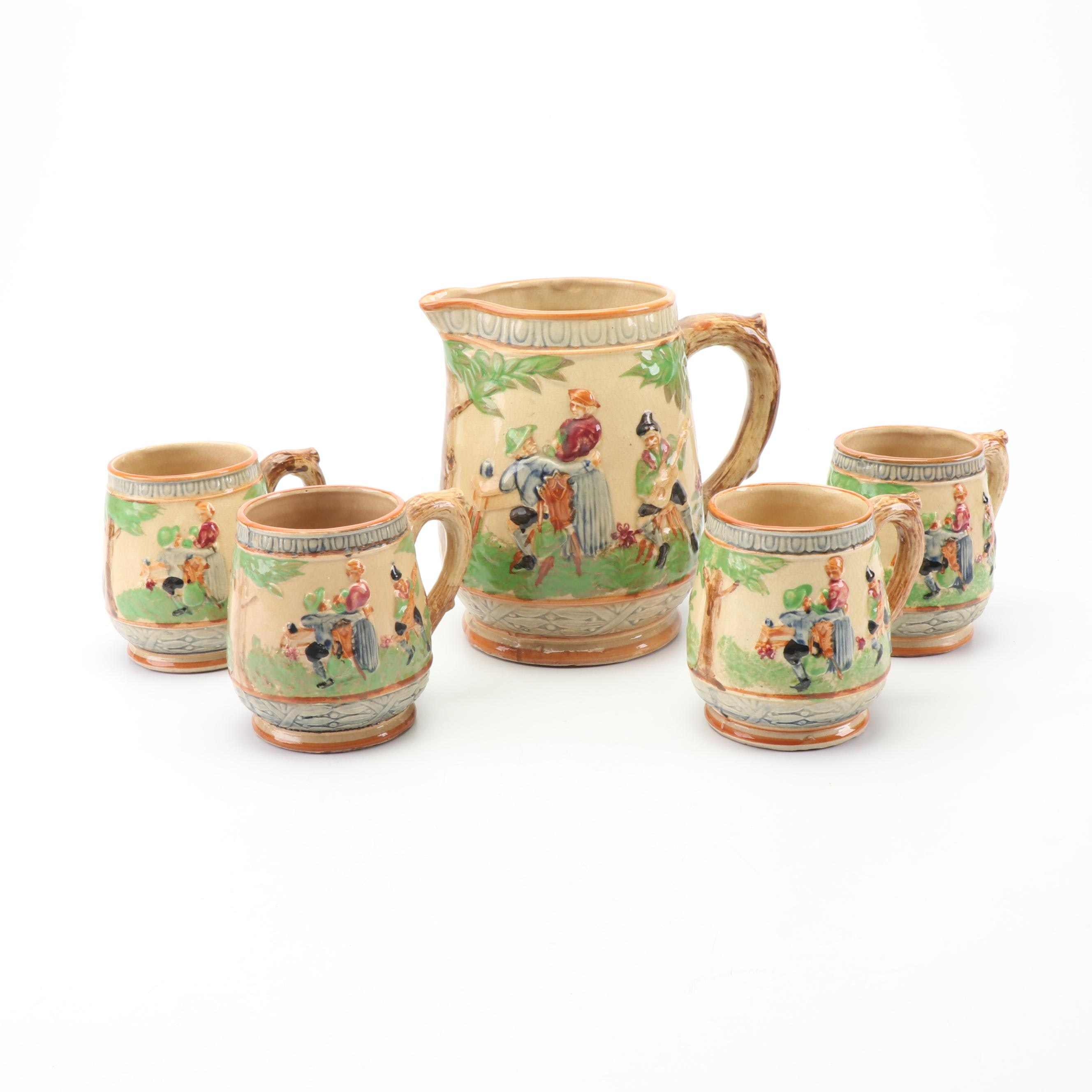 Vintage Japanese Ceramic Pitcher and Mugs