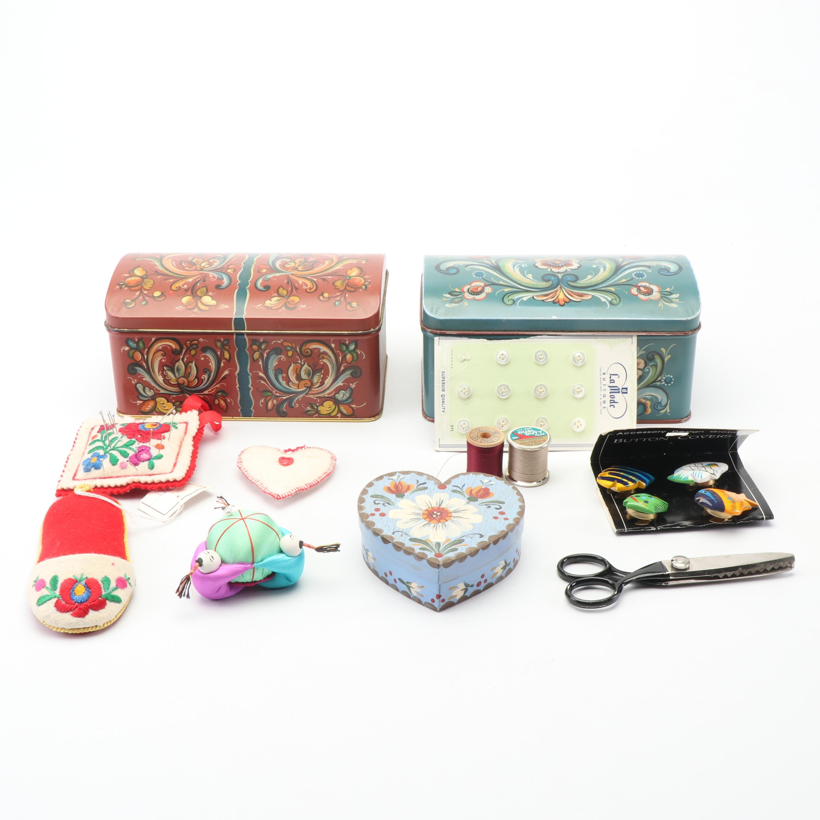 Sewing Supplies with Tin and Wooden Boxes