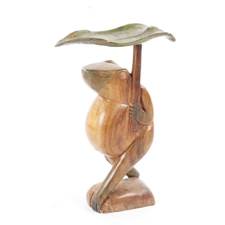 Folk Art Carved Wood Frog with Umbrella Accent Table, 21st Century
