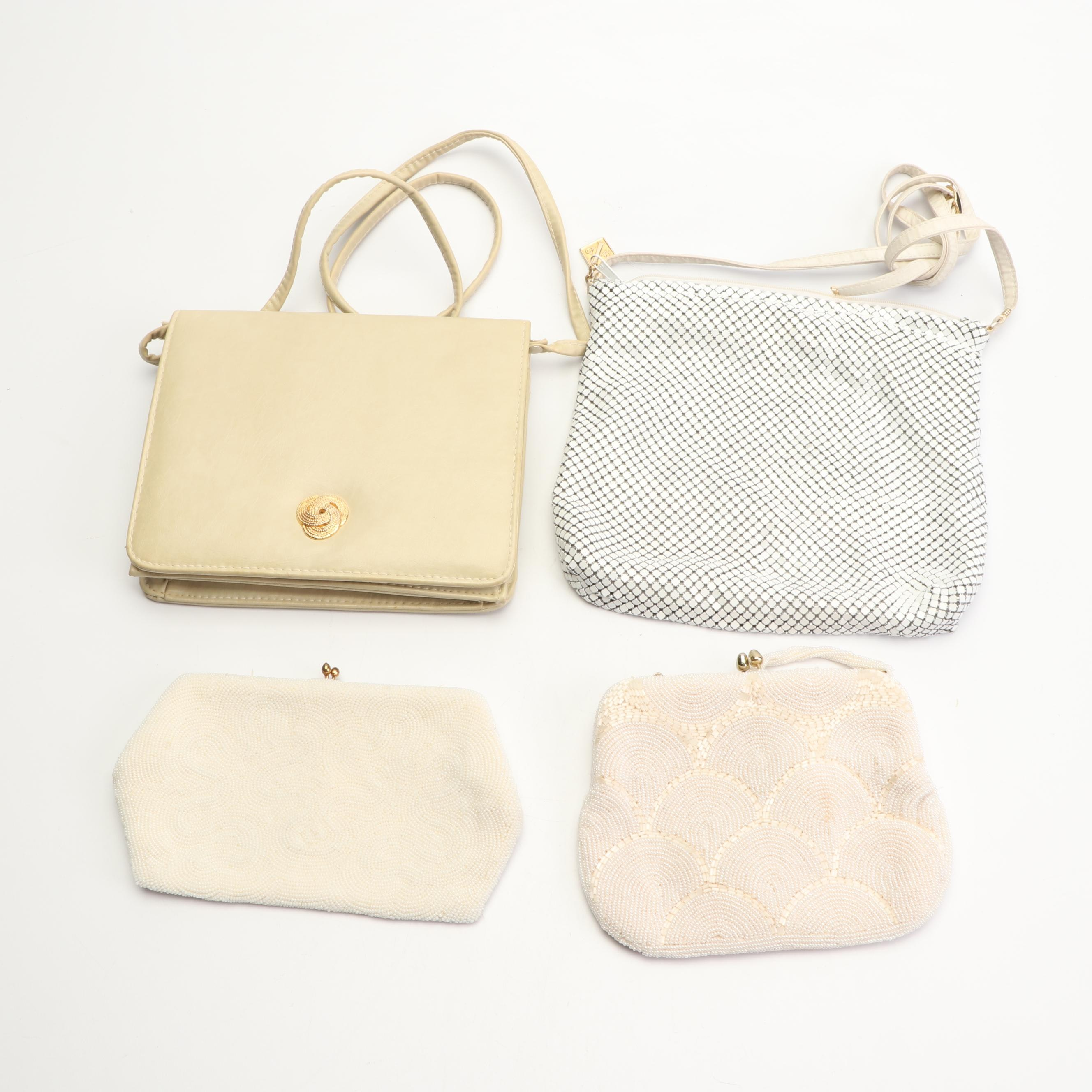 Vintage Purses and Clutch Including White Enameled Whiting & Davis Purse