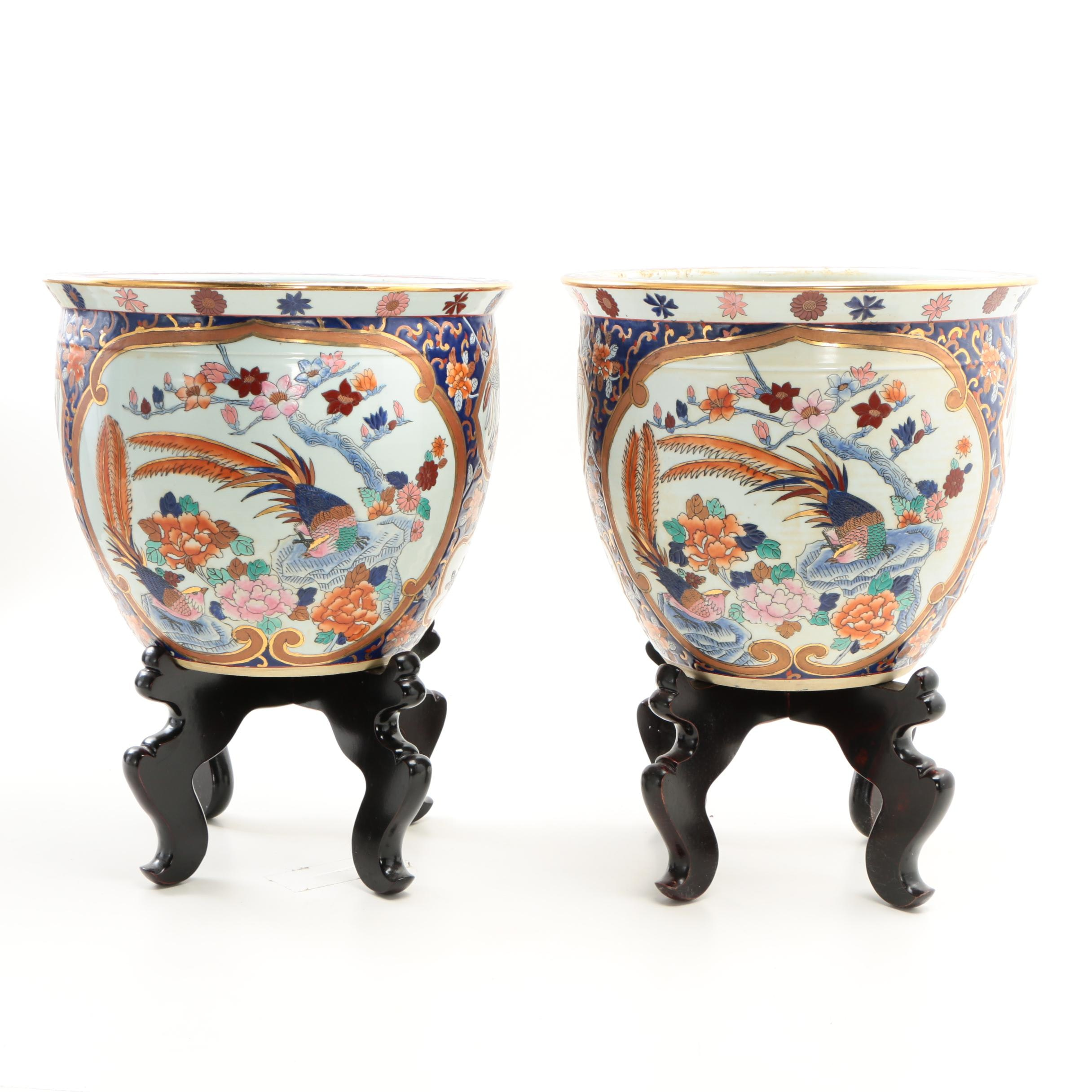 Chinese Ceramic Fishbowl Jardinieres with Carved Wooden Stands