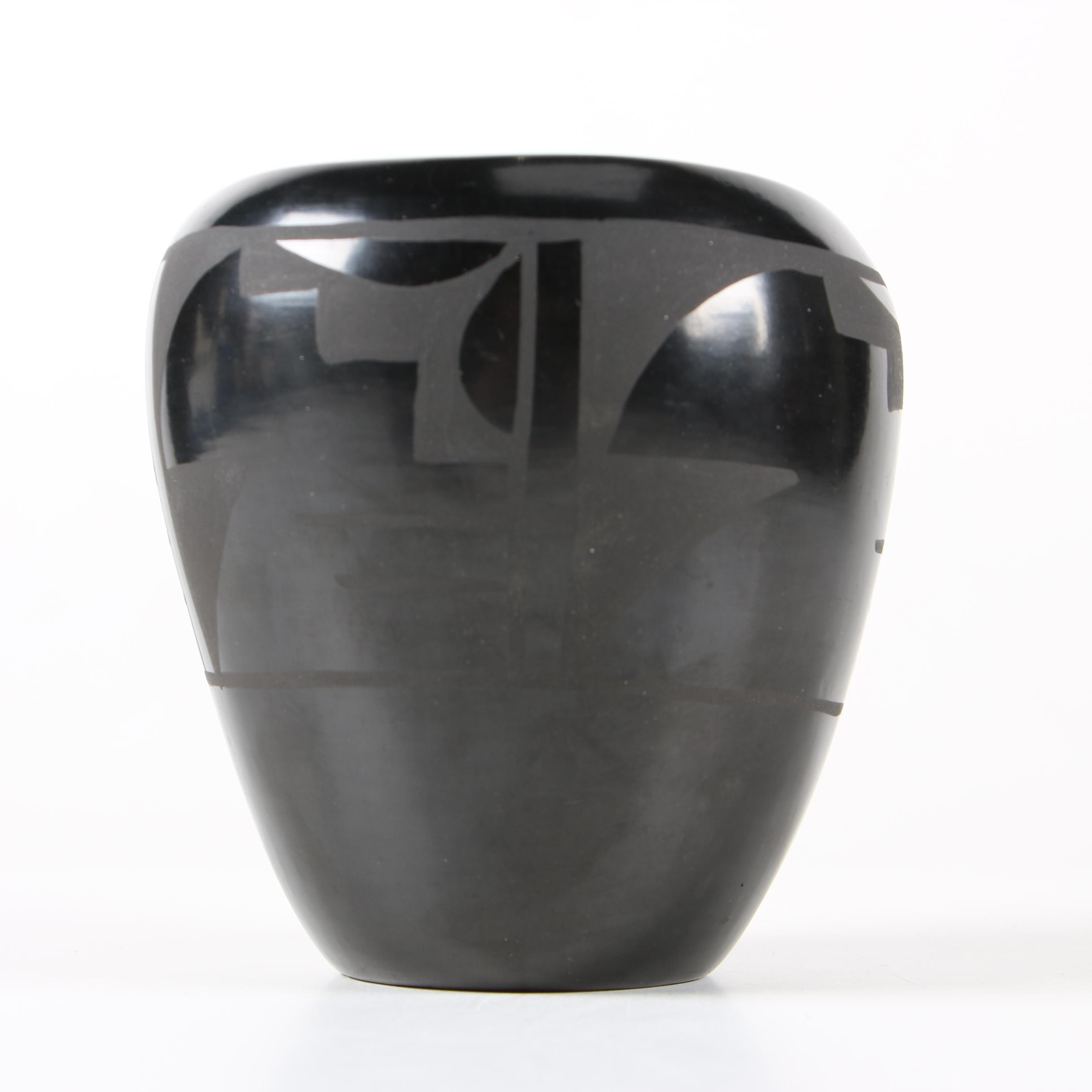 Burnished Blackware San Ildefonso Style Earthenware Vase