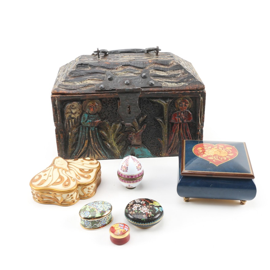 Wooden and Enameled Vanity Boxes including Cloisonné with Reuge Music Box