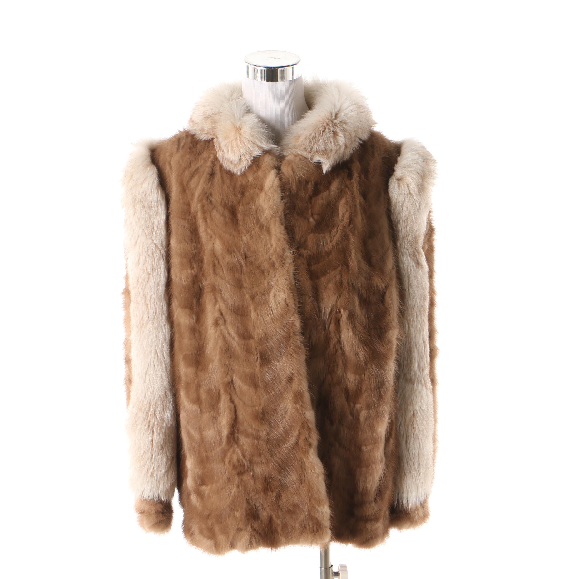 Women's Vintage Brown Mink Paw Fur Jacket with White Fox Fur Trim