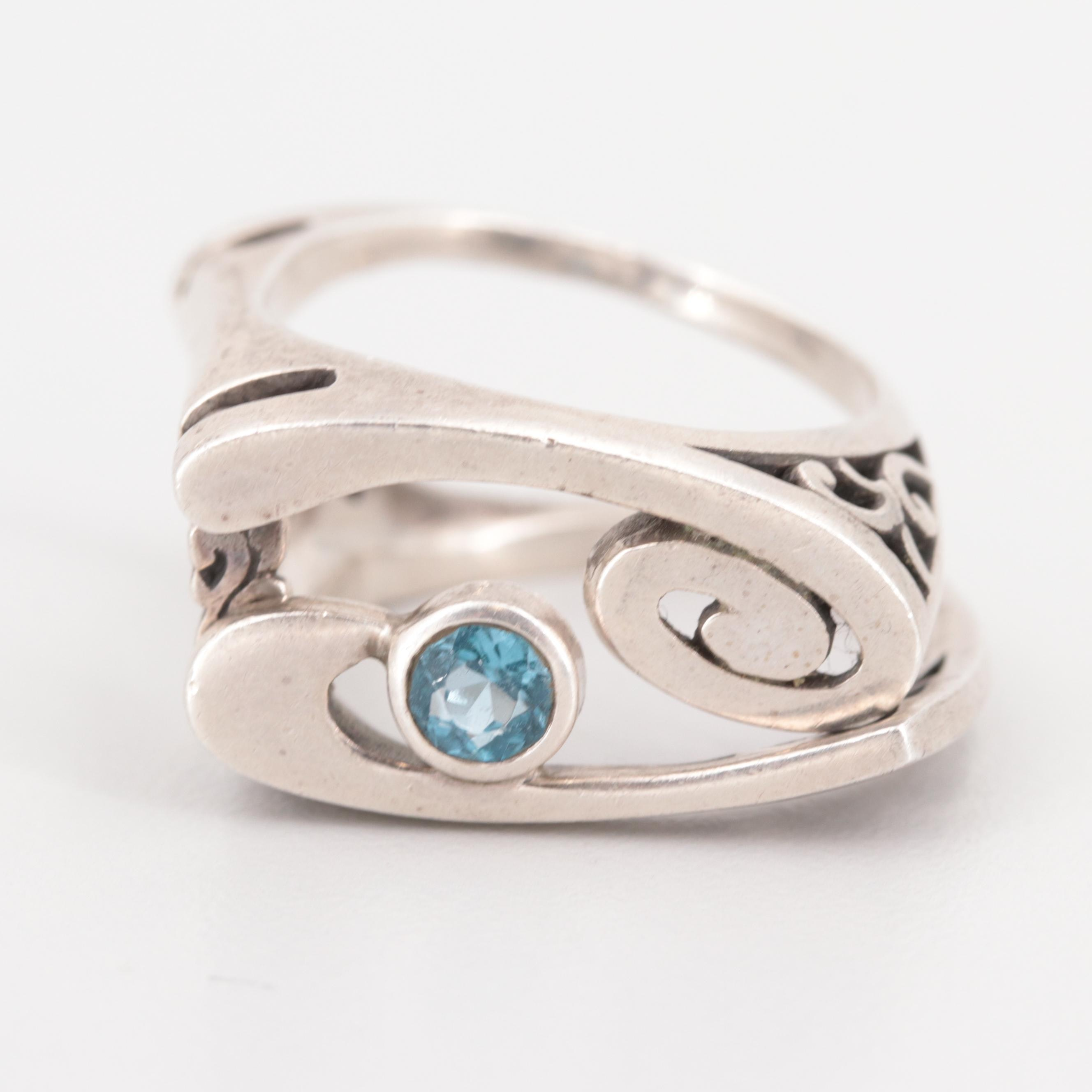 Sterling Silver Blue Topaz Convertible Ring