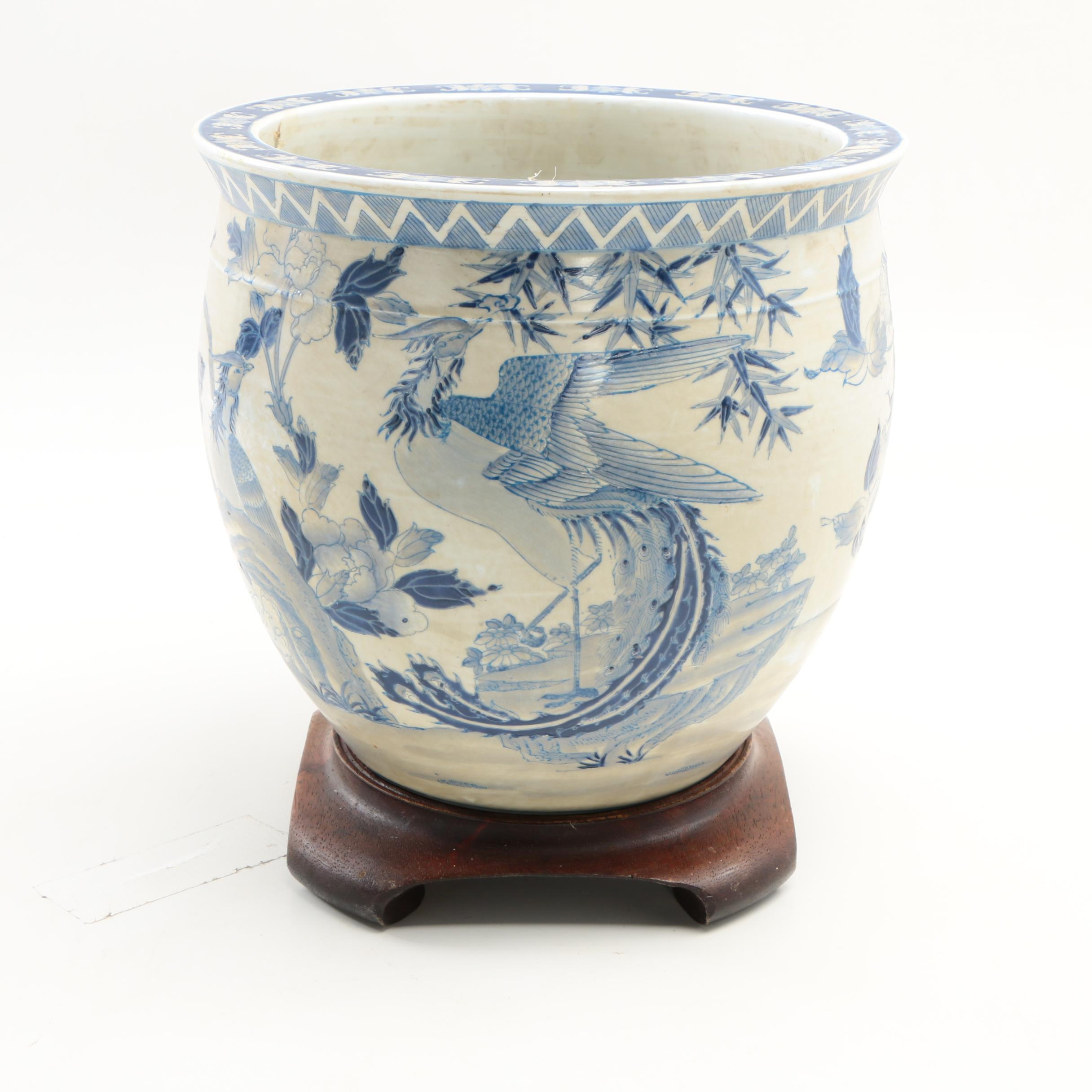 Chinese Blue and White Ceramic Fishbowl Jardinere with Wooden Stand