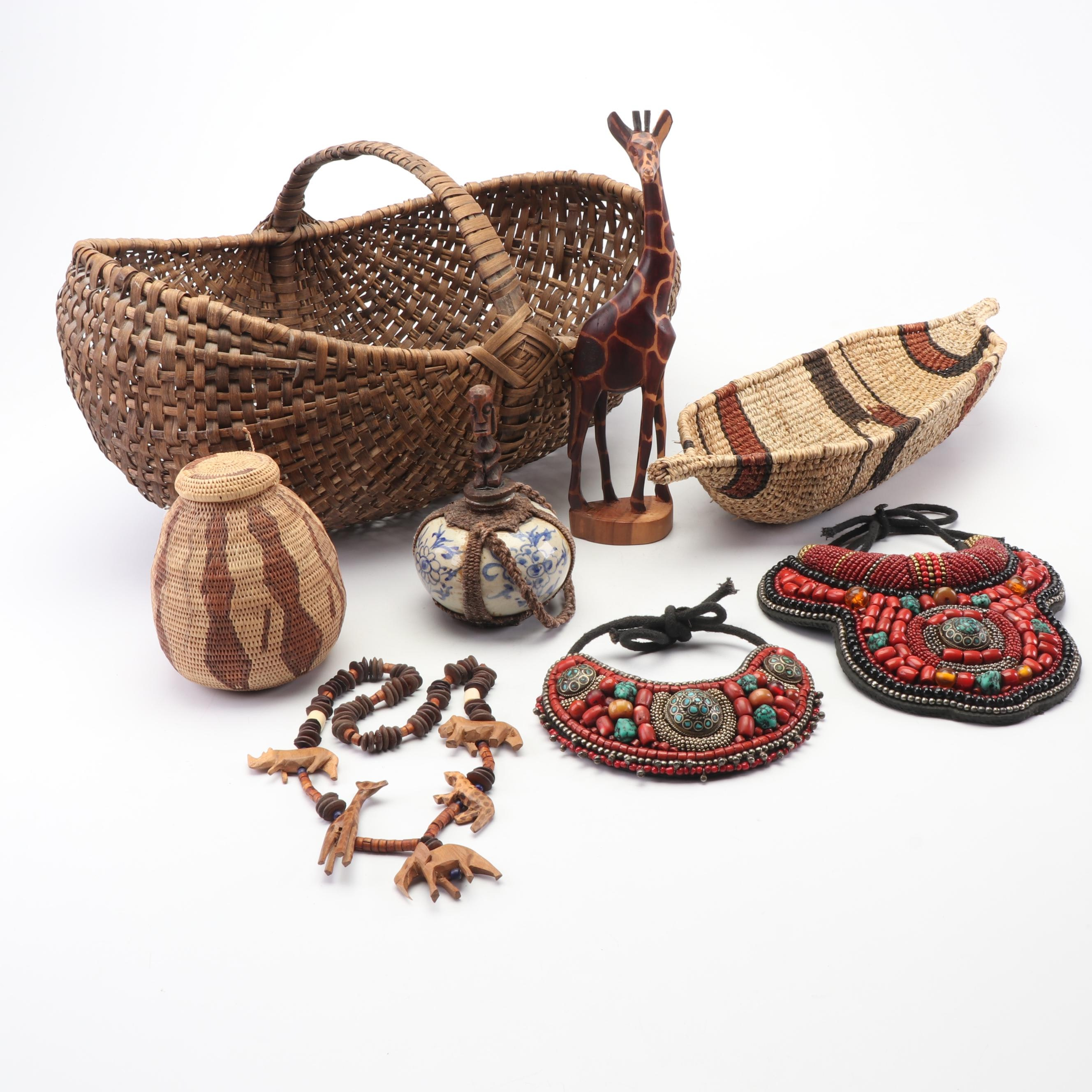 Beaded Bib Necklaces, Baskets, and Carved Wooden Decor